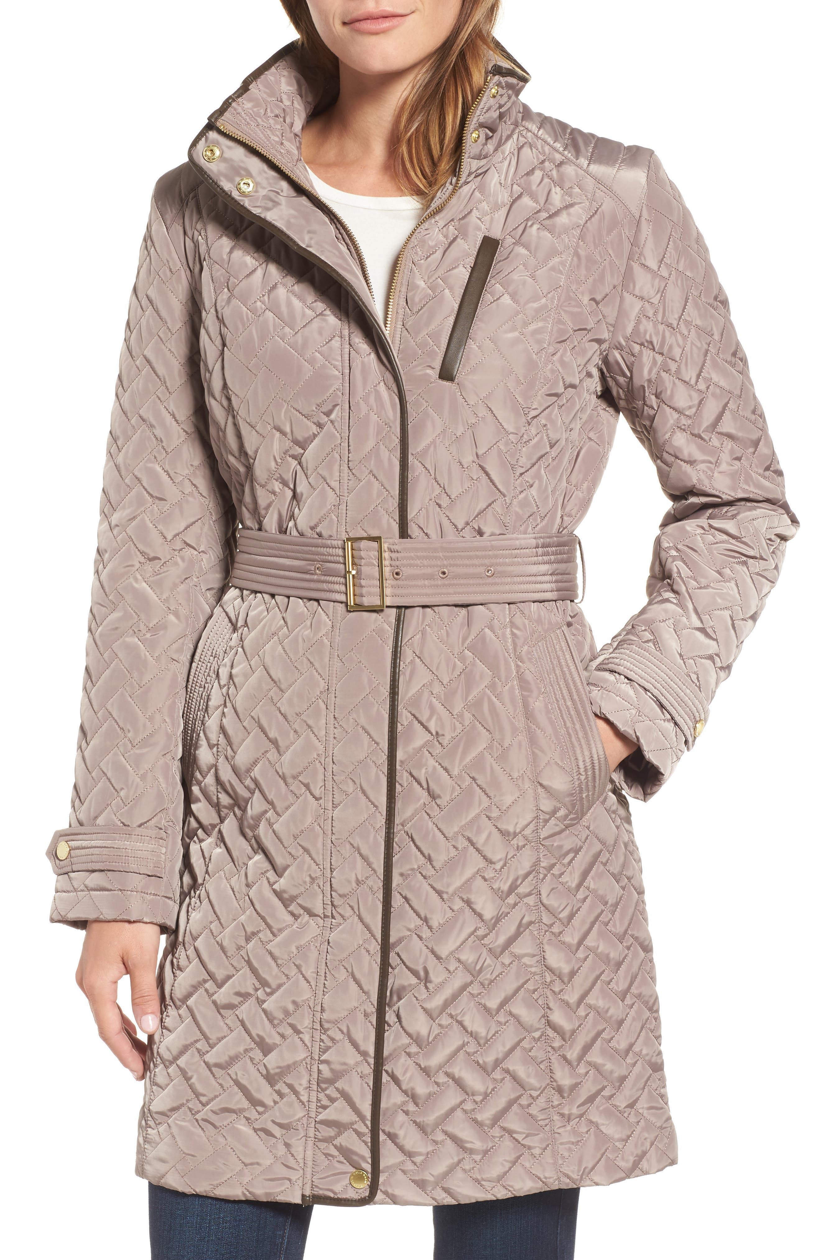 Belted Quilted Coat,                             Main thumbnail 1, color,                             Cashew