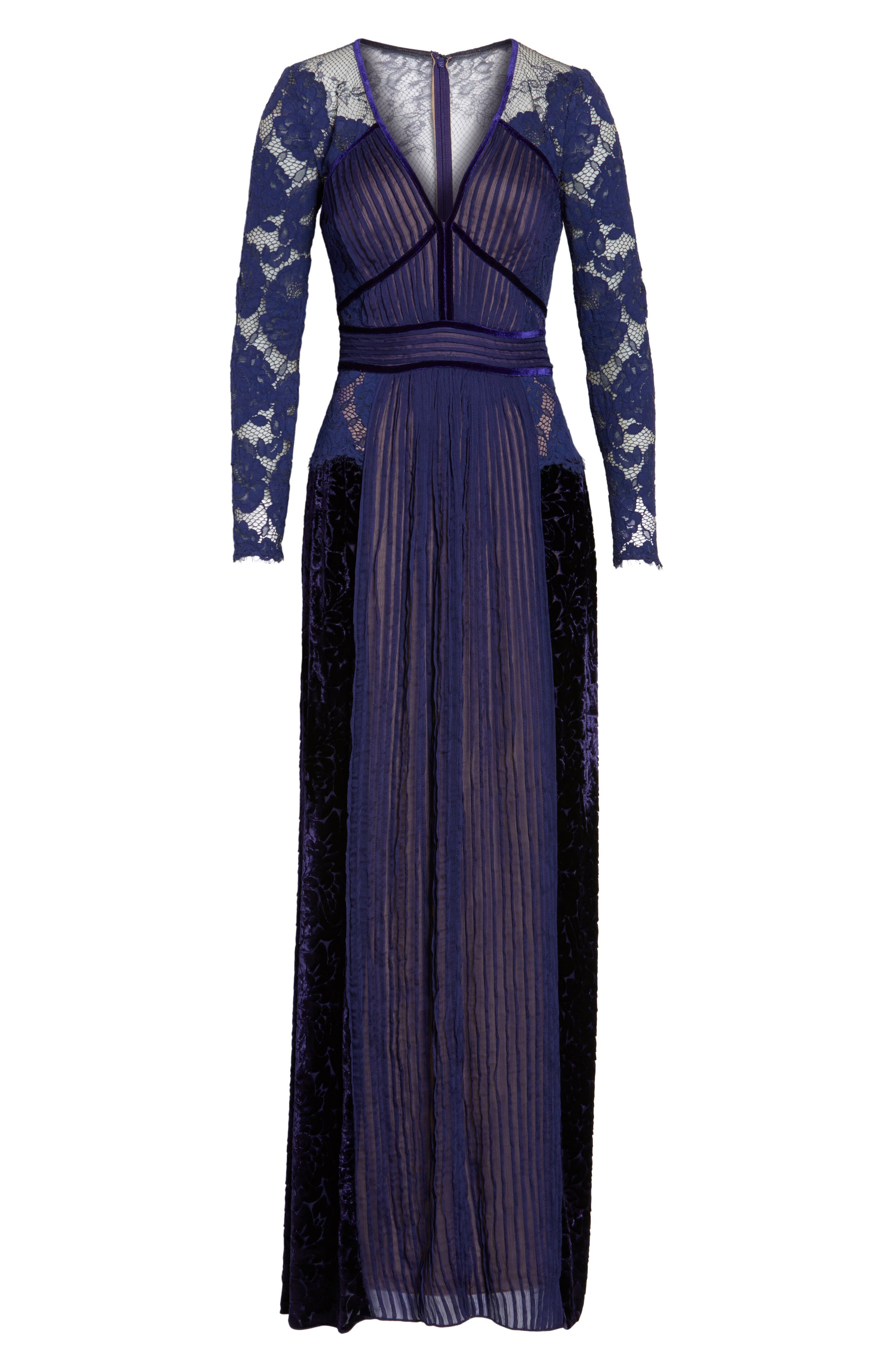 Alternate Image 6  - Tadashi Shoji Mixed Media A-Line Gown