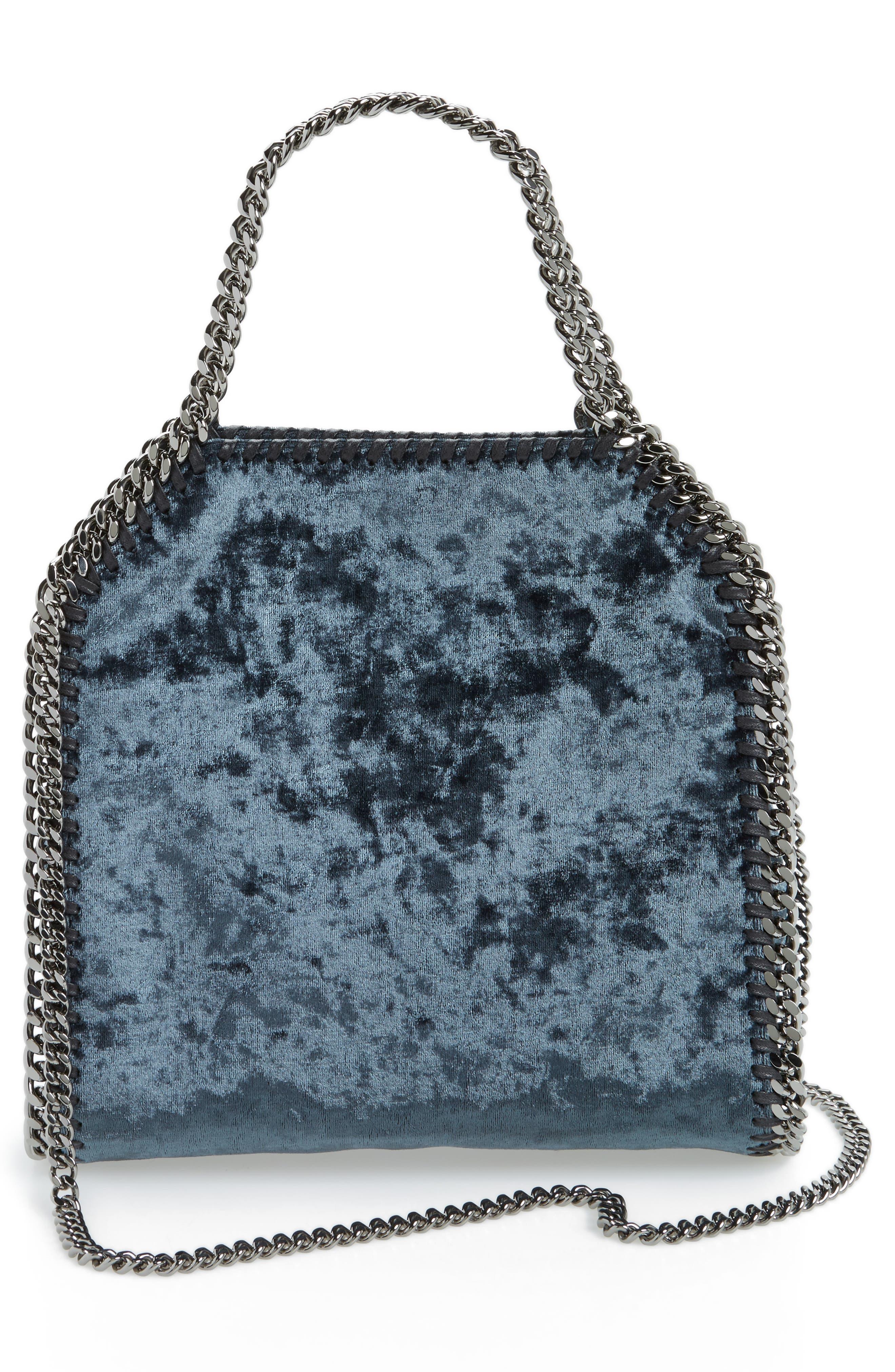 Mini Falabella Crushed Velvet Bag,                             Alternate thumbnail 2, color,                             Charcoal