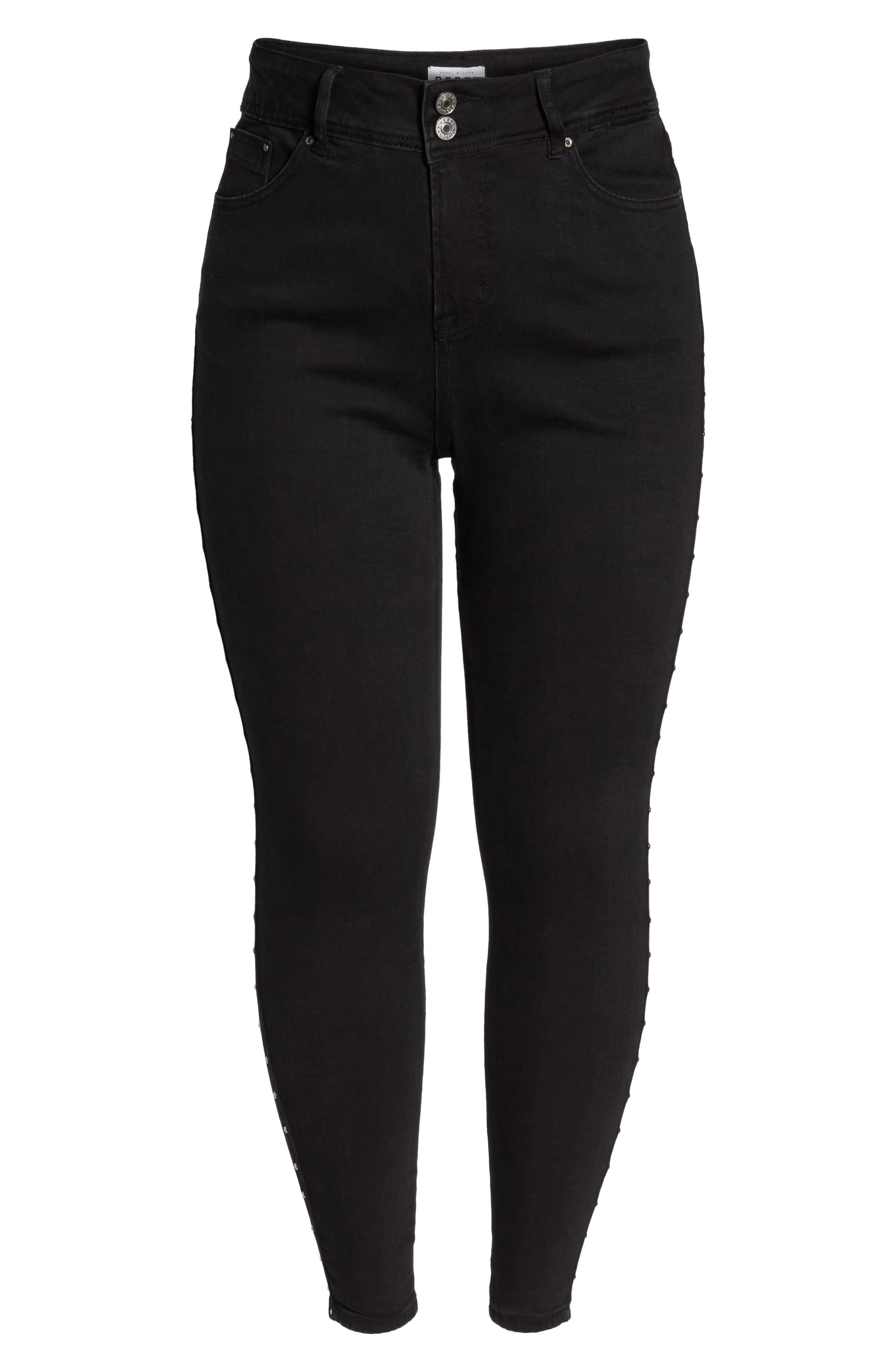 Studded High Waist Skinny Jeans,                             Alternate thumbnail 4, color,                             Summit/ Studded