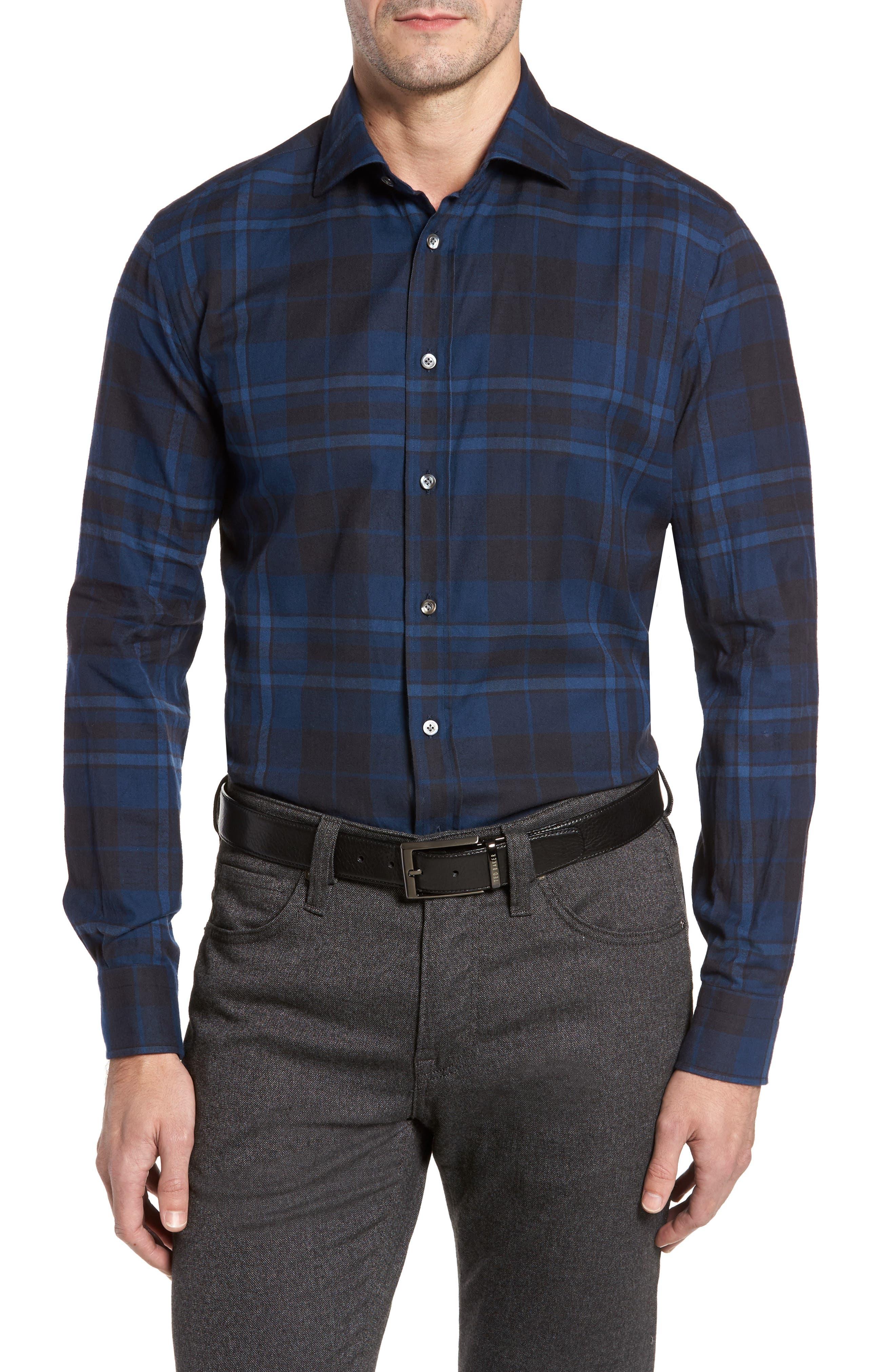 Trim Fit Plaid Sport Shirt,                         Main,                         color, Blue