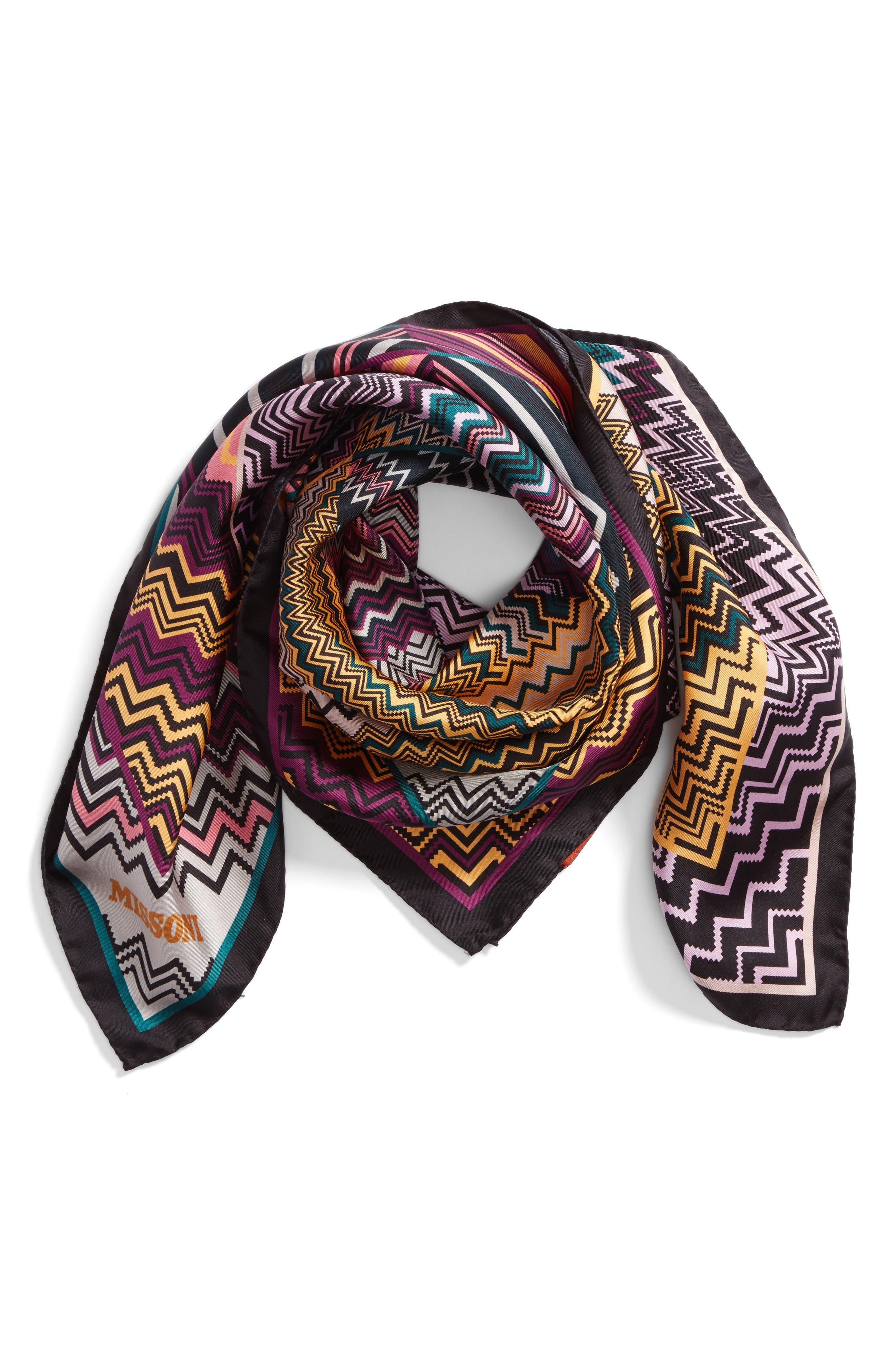 Zigzag Square Silk Scarf,                             Alternate thumbnail 3, color,                             Purple