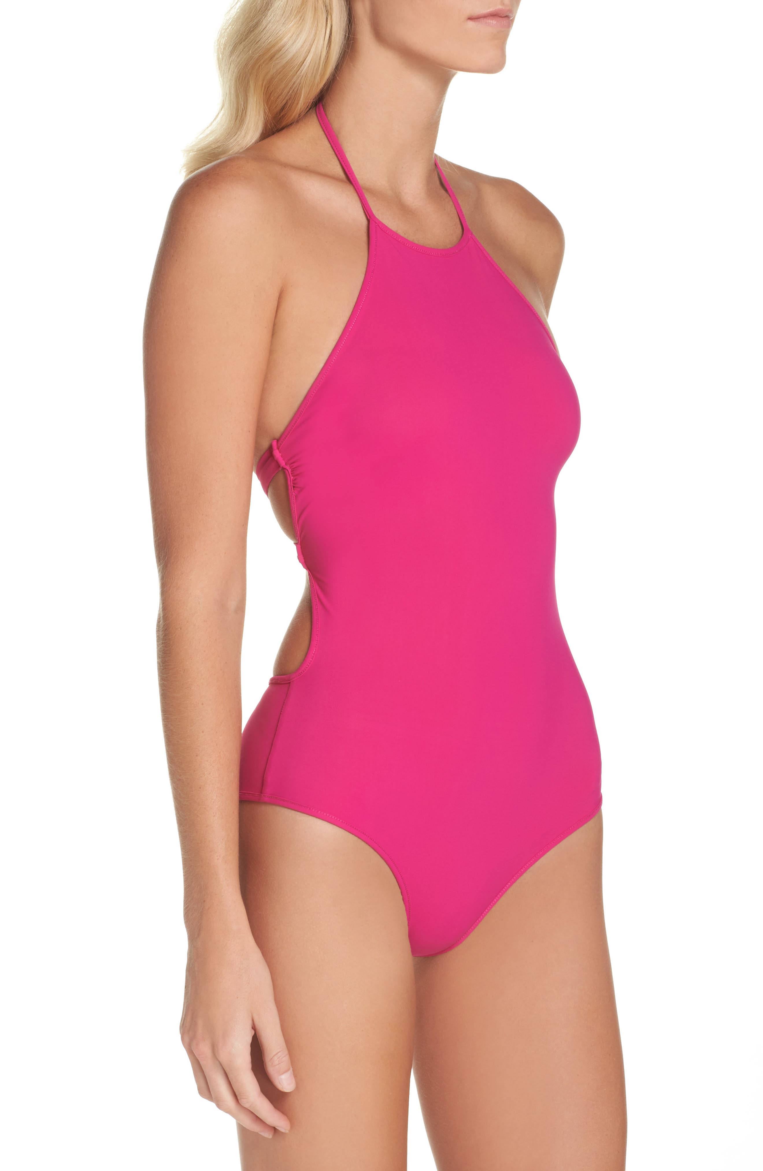 Halter One-Piece Swimsuit,                             Alternate thumbnail 3, color,                             Hot Pink