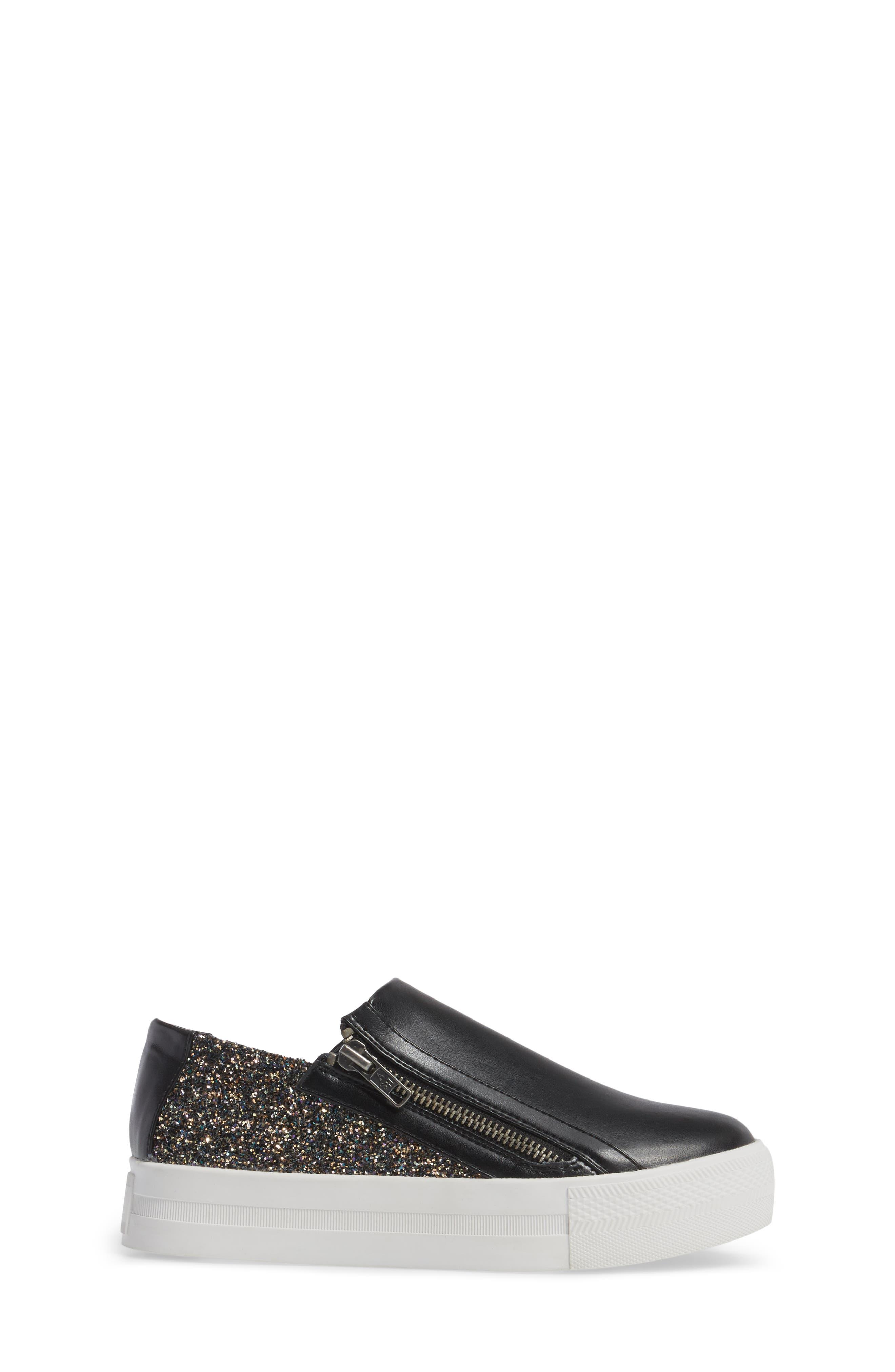 Lynn Monica Glittery Zip Sneaker,                             Alternate thumbnail 3, color,                             Black Faux Leather