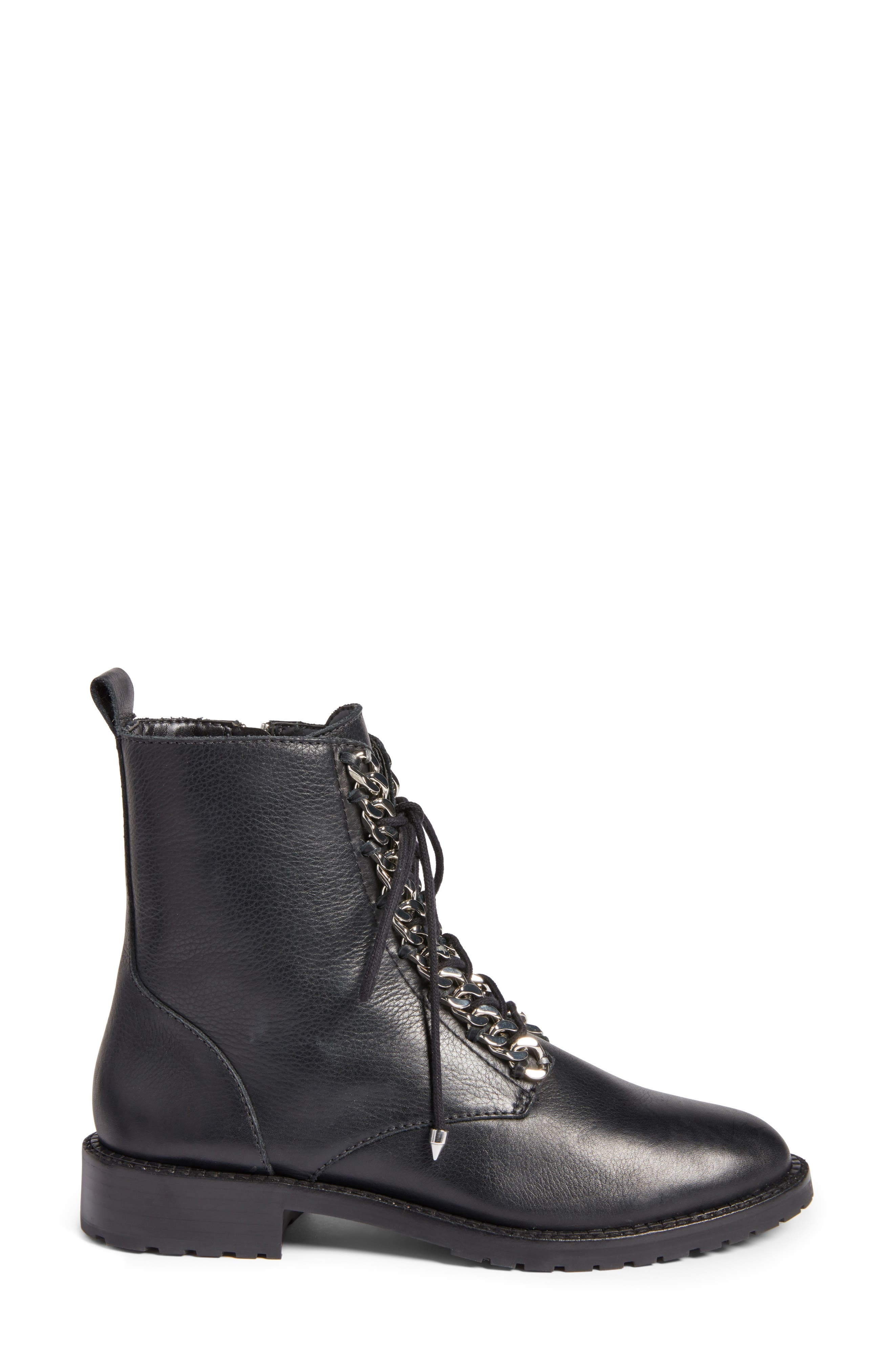 Gian Combat Boot,                             Alternate thumbnail 3, color,                             Black Leather