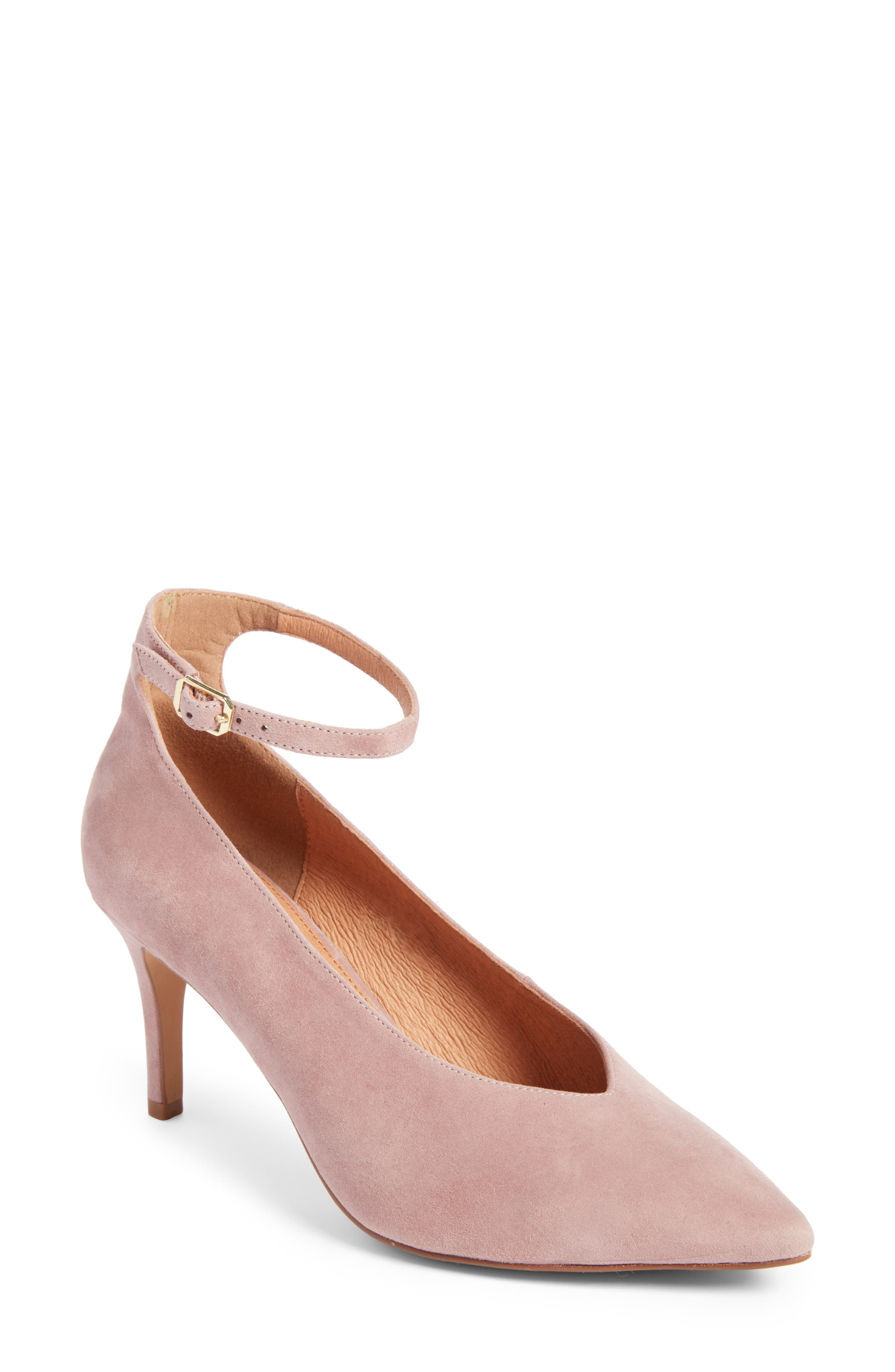 Azaela Ankle Strap Pump,                             Main thumbnail 1, color,                             Dark Pink Suede