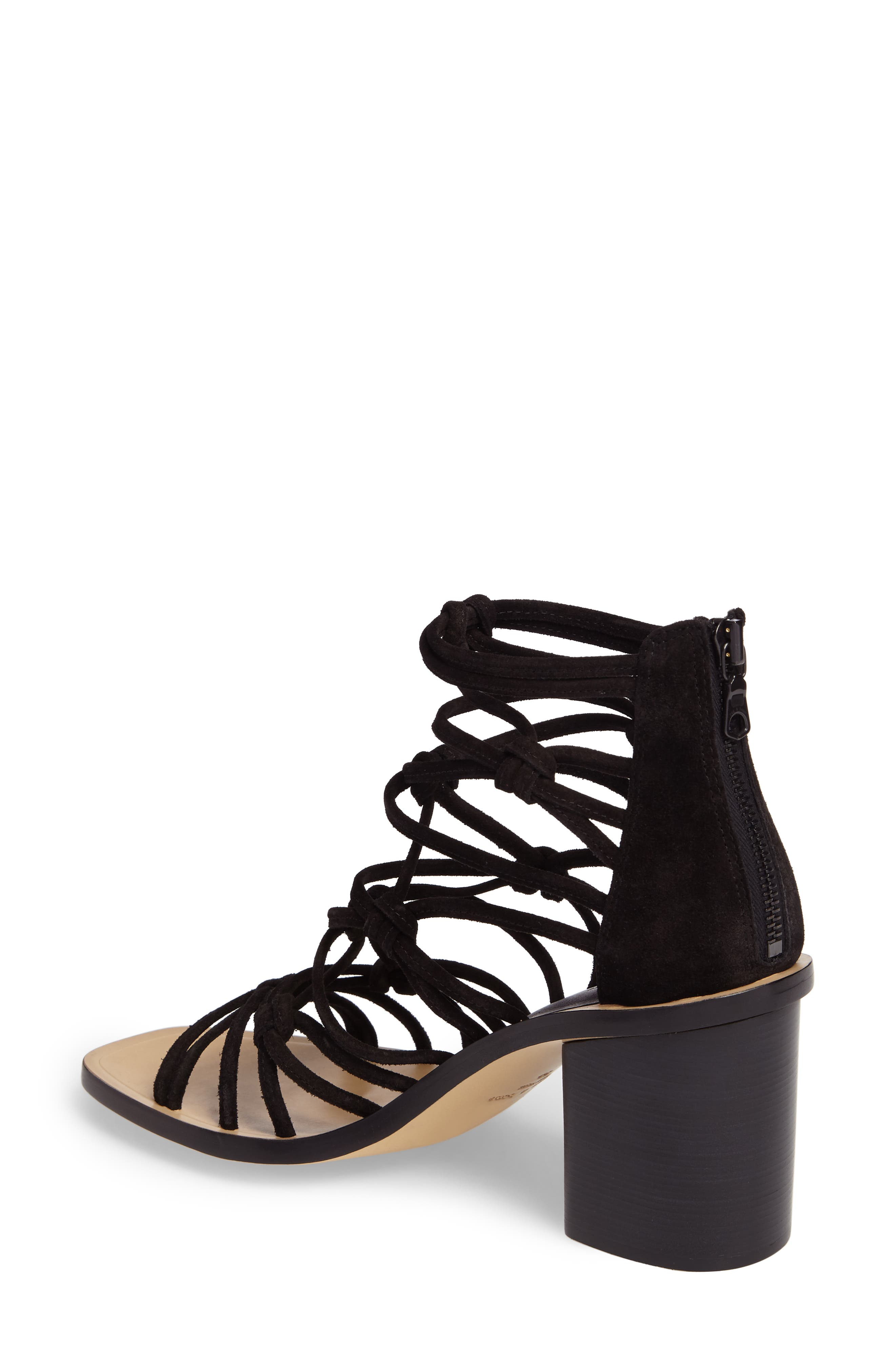 Camille Knotted Strappy Sandal,                             Alternate thumbnail 2, color,                             Black Suede