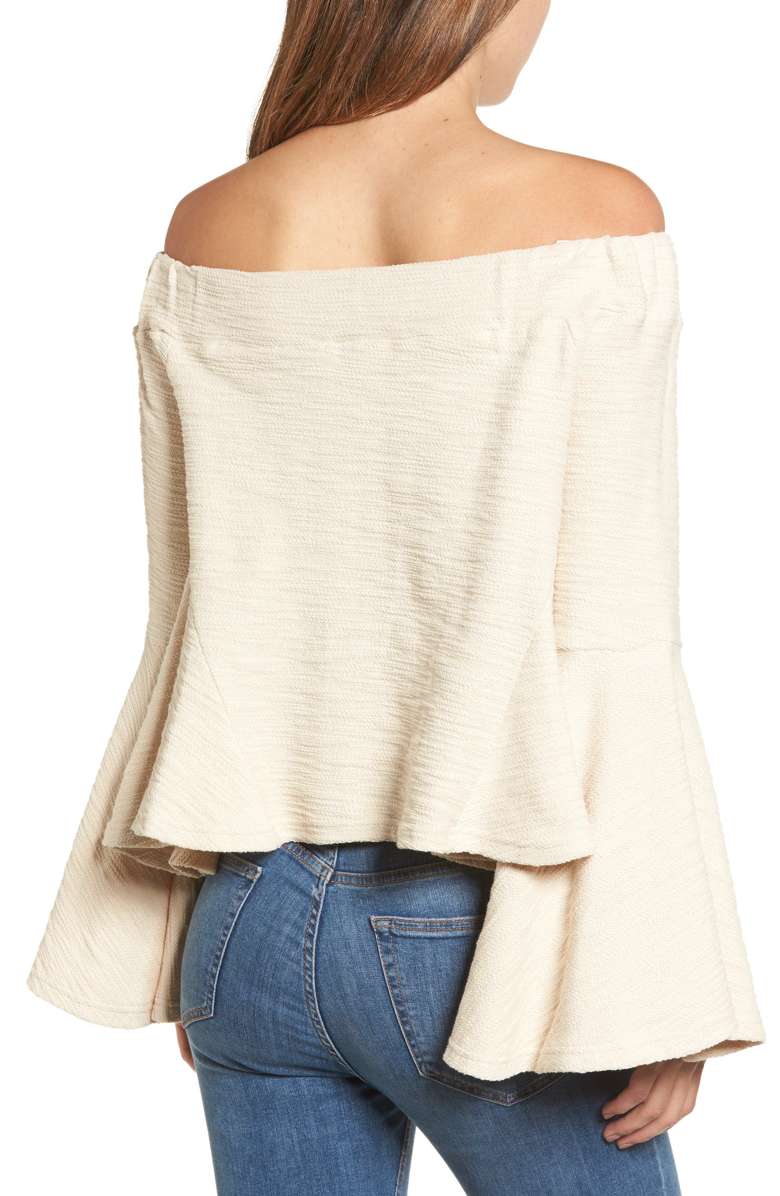 Alternate Image 3  - MOON RIVER Off the Shoulder Bell Sleeve Top