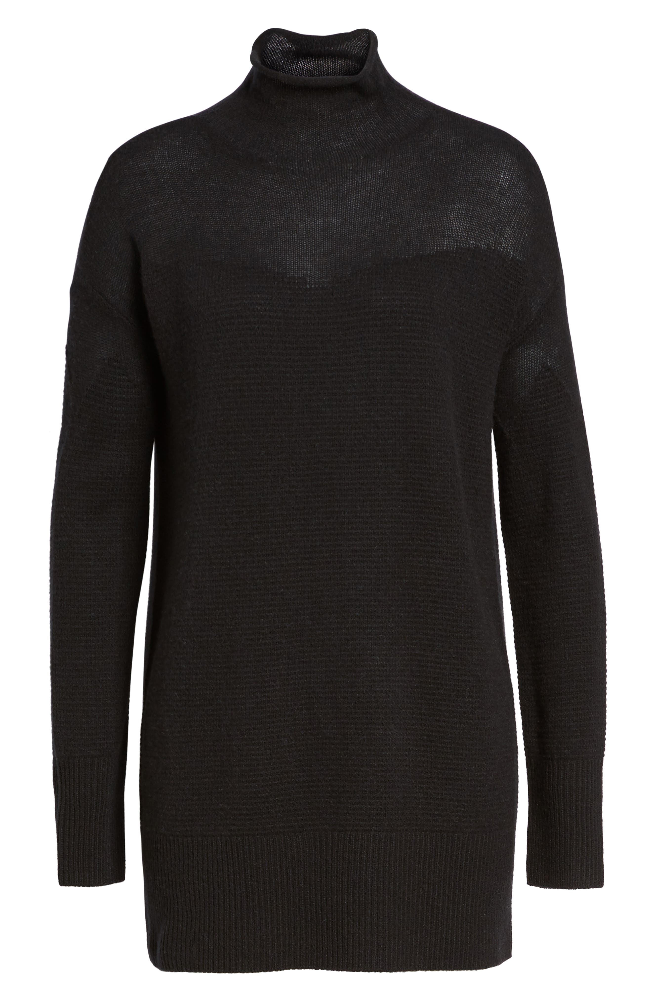 Sheer Yoke Cashmere Sweater,                             Alternate thumbnail 6, color,                             Black