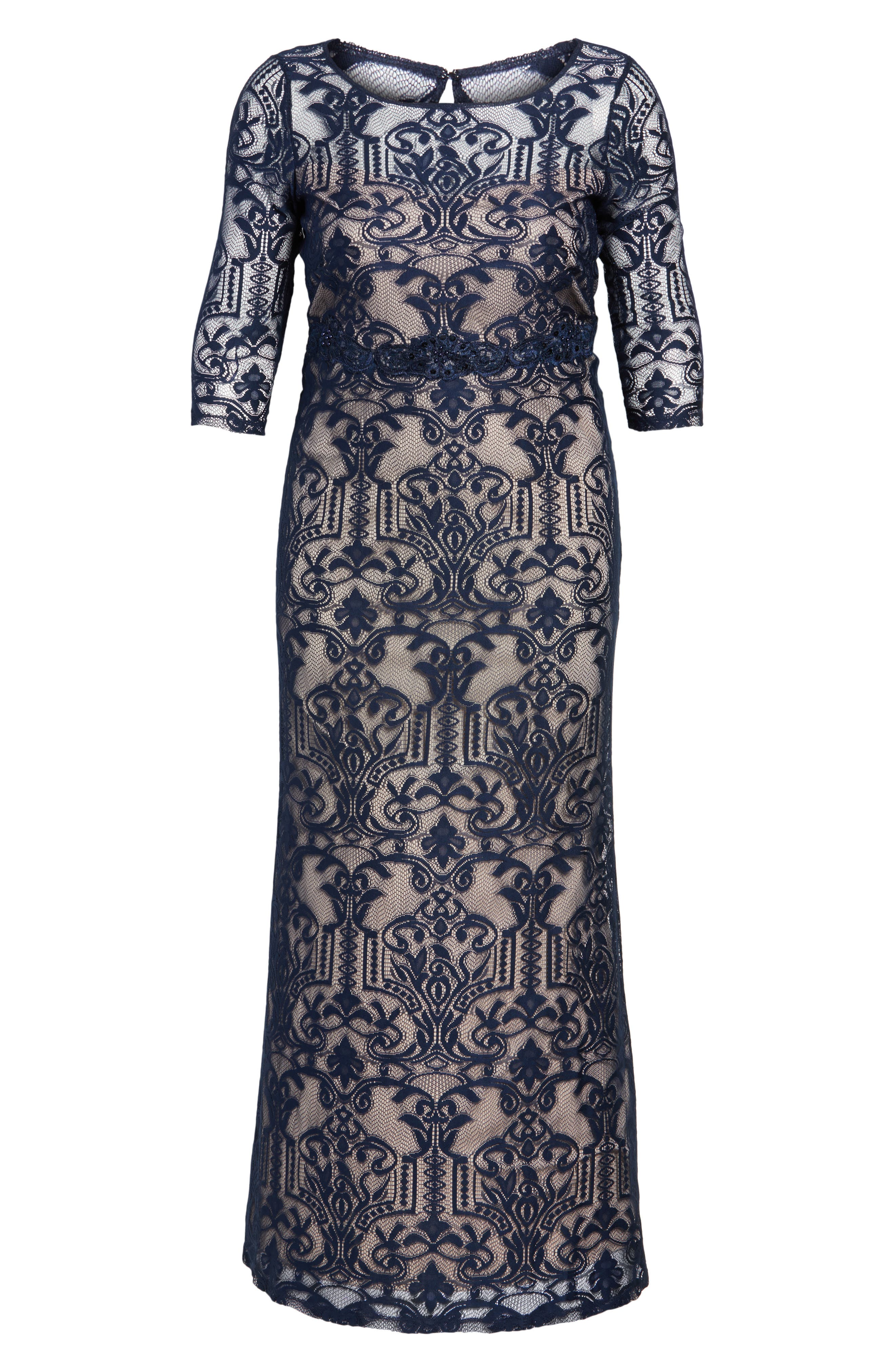 A-Line Lace Gown,                             Alternate thumbnail 6, color,                             Navy/ Taupe