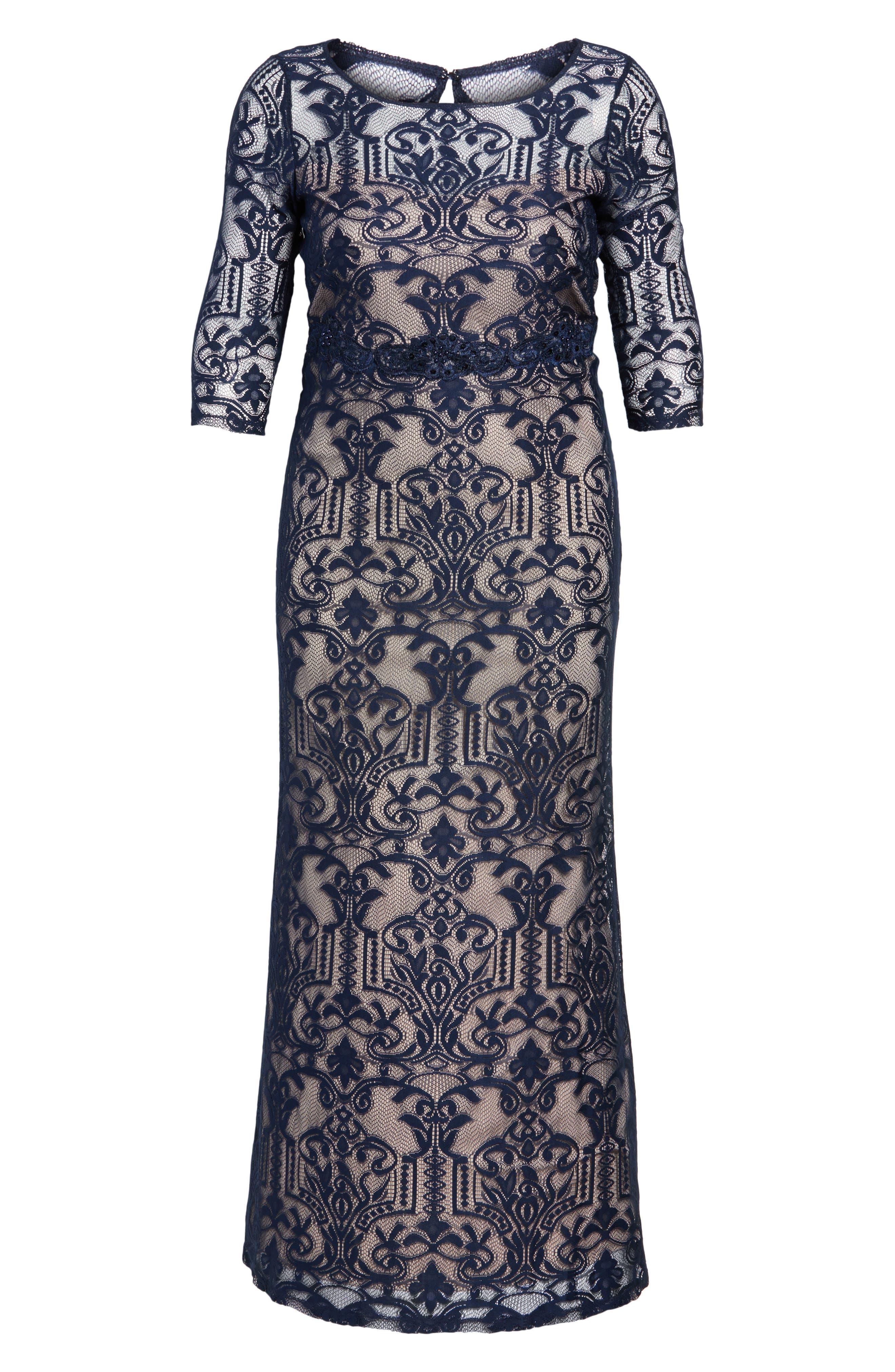 Alternate Image 6  - Sangria A-Line Lace Gown (Plus Size)
