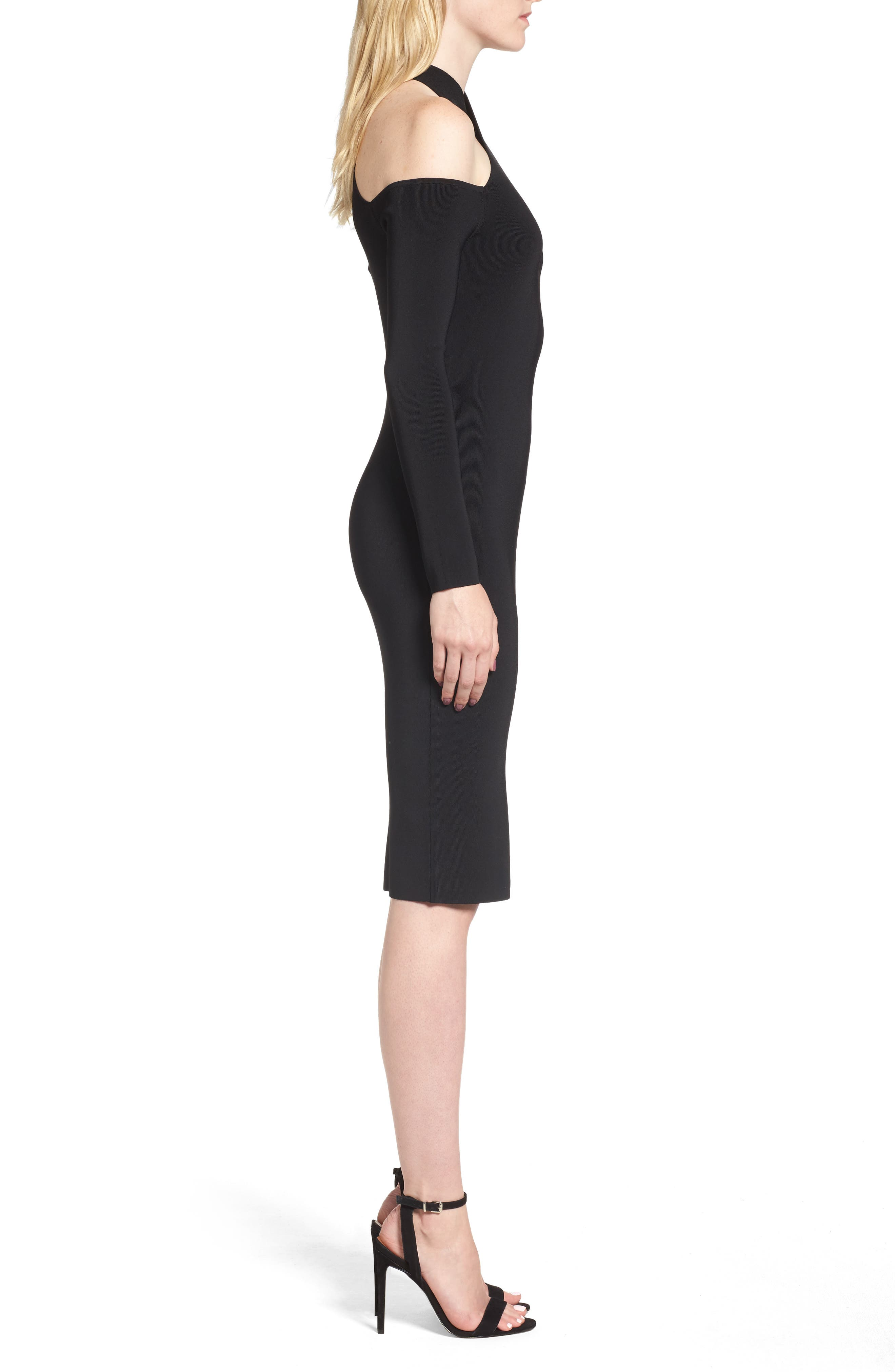 Halter Keyhole Sweater Dress,                             Alternate thumbnail 4, color,                             Black