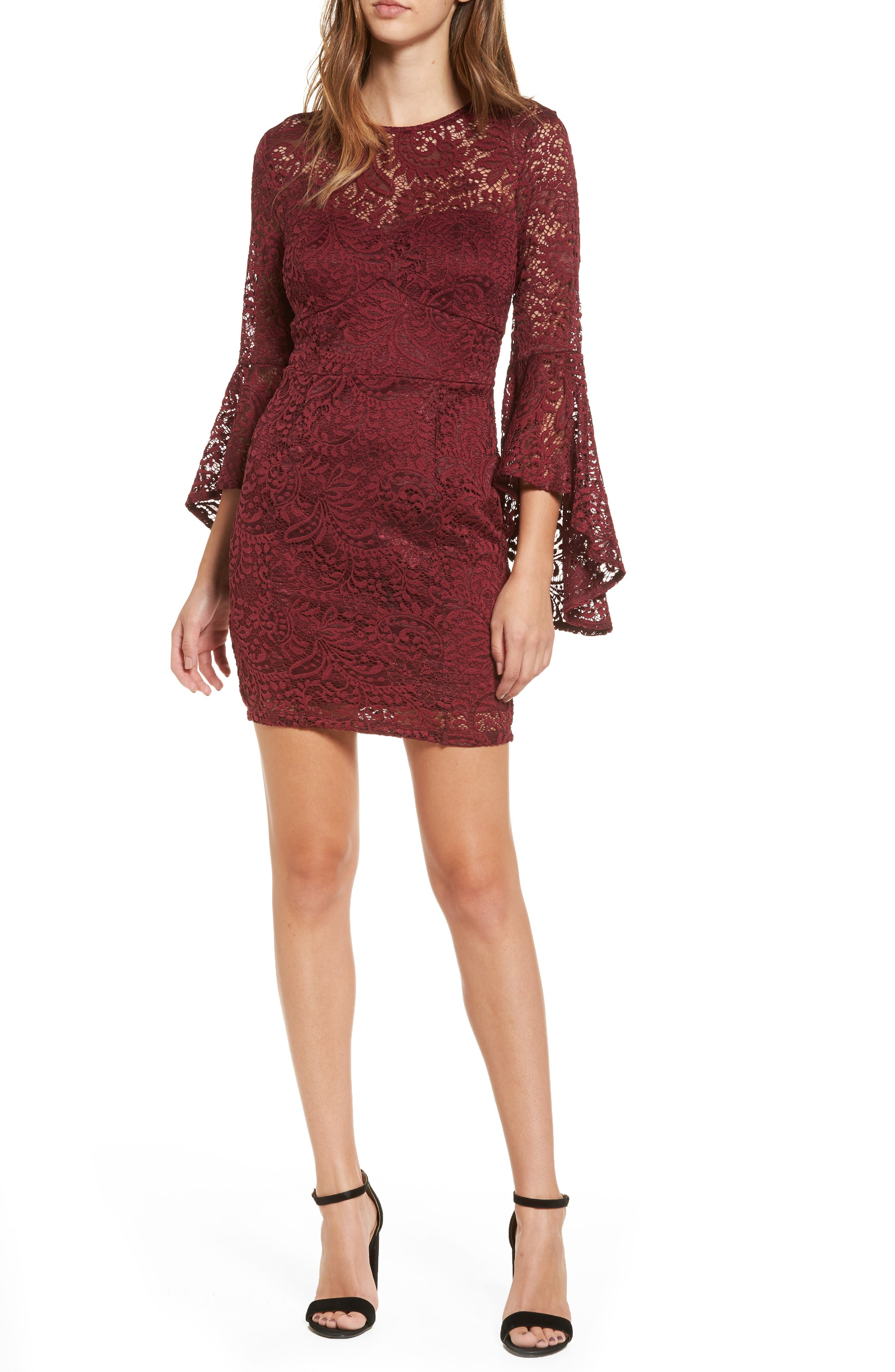 Lace Bell Sleeve Dress,                         Main,                         color, Burgundy