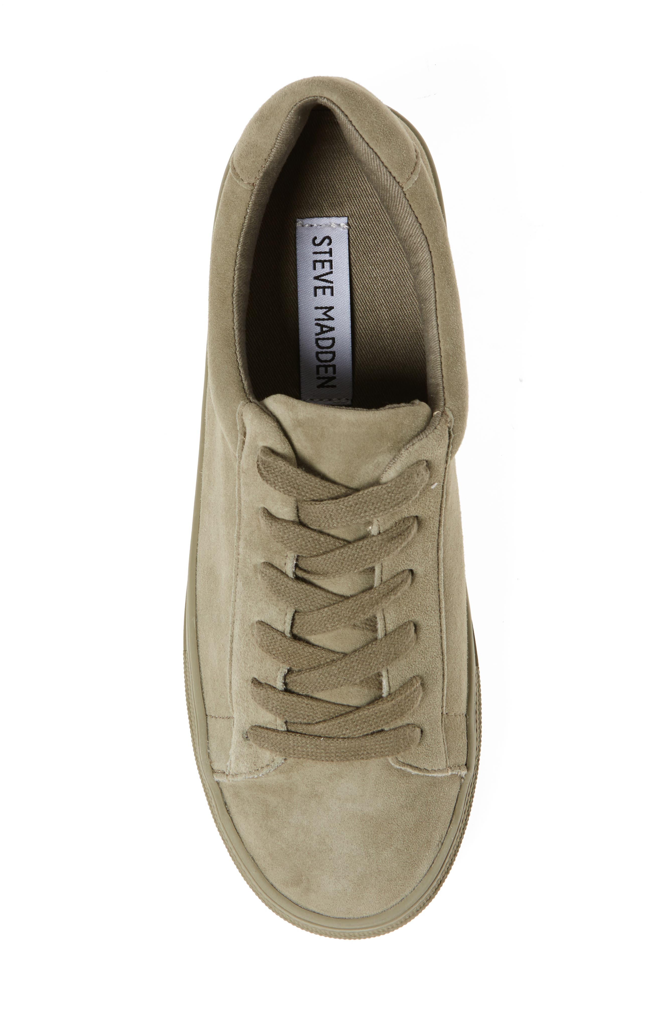 Gisela Low Top Sneaker,                             Alternate thumbnail 5, color,                             Olive Suede