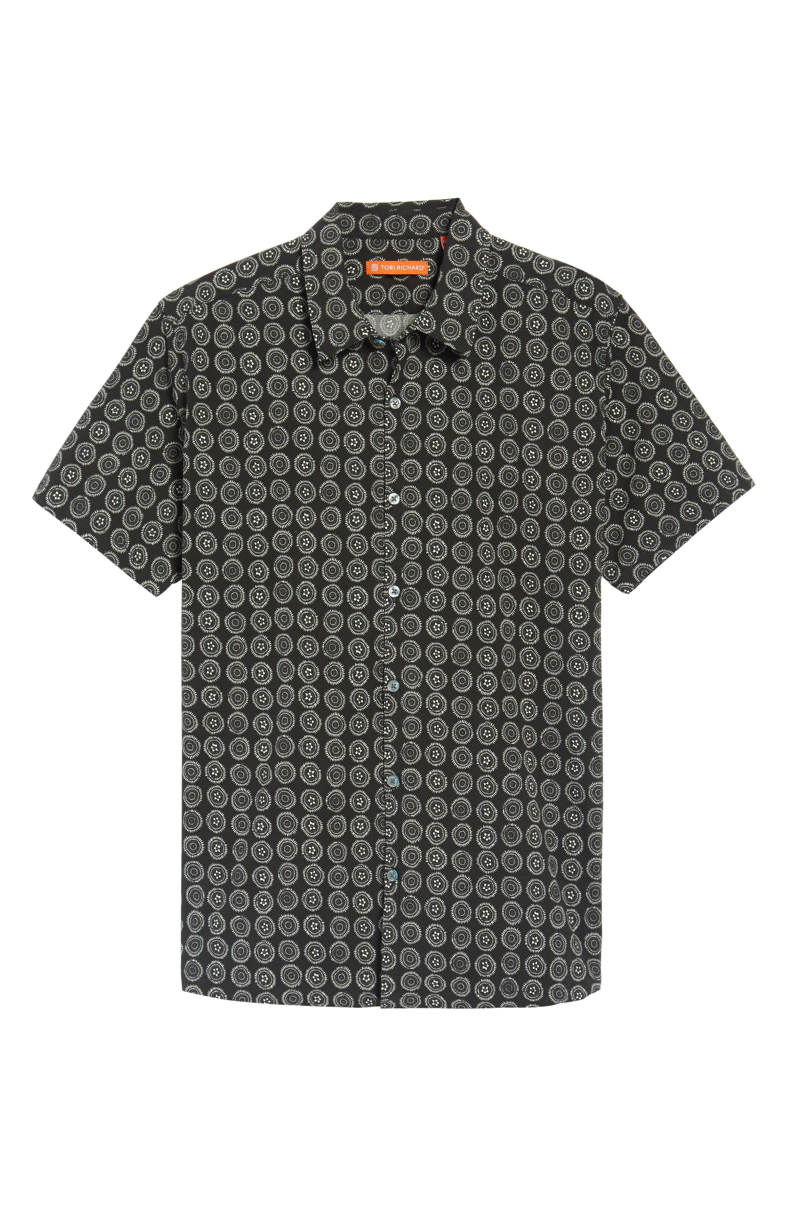 Sea Crest Slim Fit Print Camp Shirt,                             Alternate thumbnail 6, color,                             Black