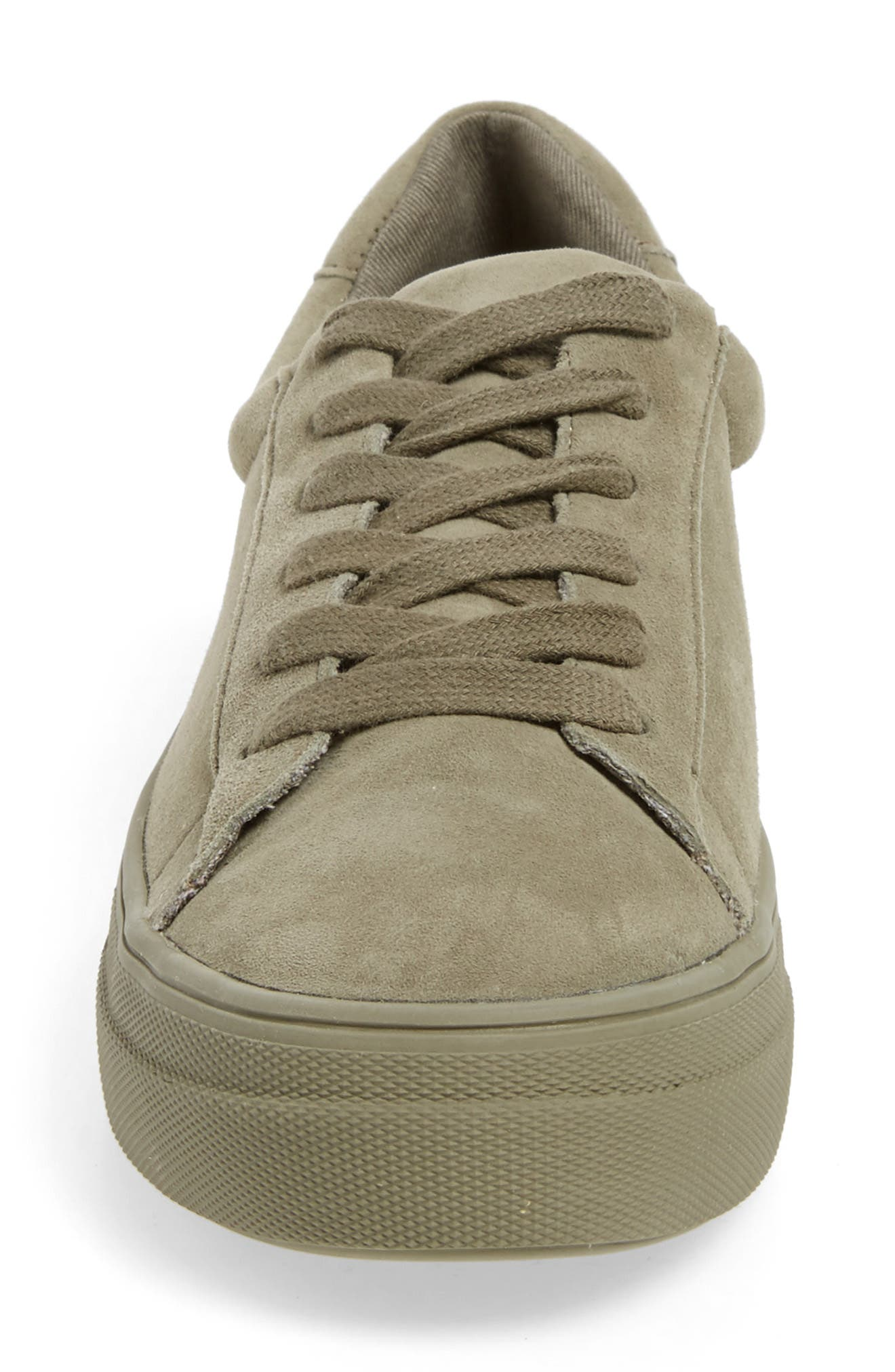 Gisela Low Top Sneaker,                             Alternate thumbnail 4, color,                             Olive Suede