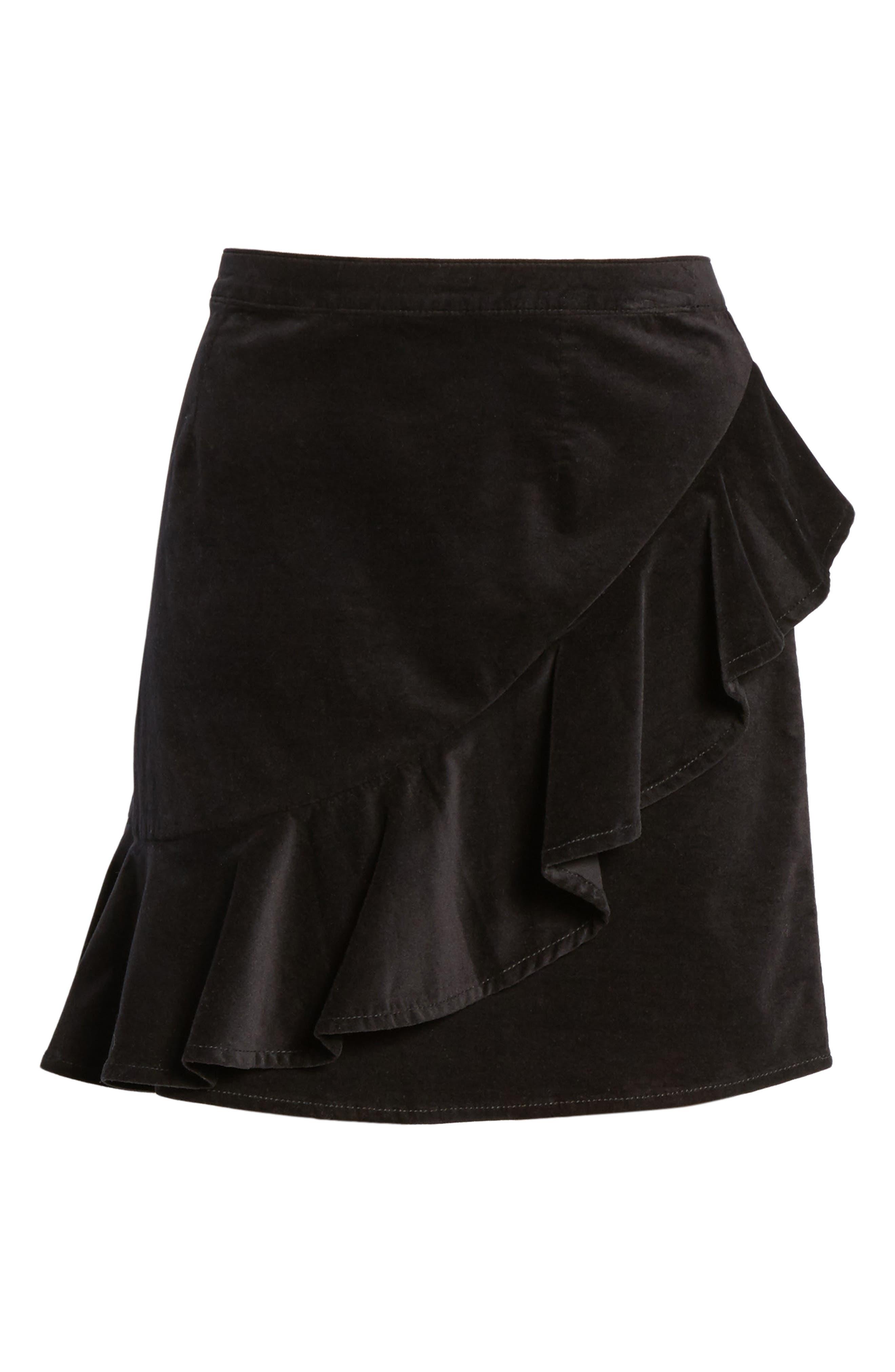Ruffle Trim Velvet Skirt,                             Alternate thumbnail 6, color,                             Black