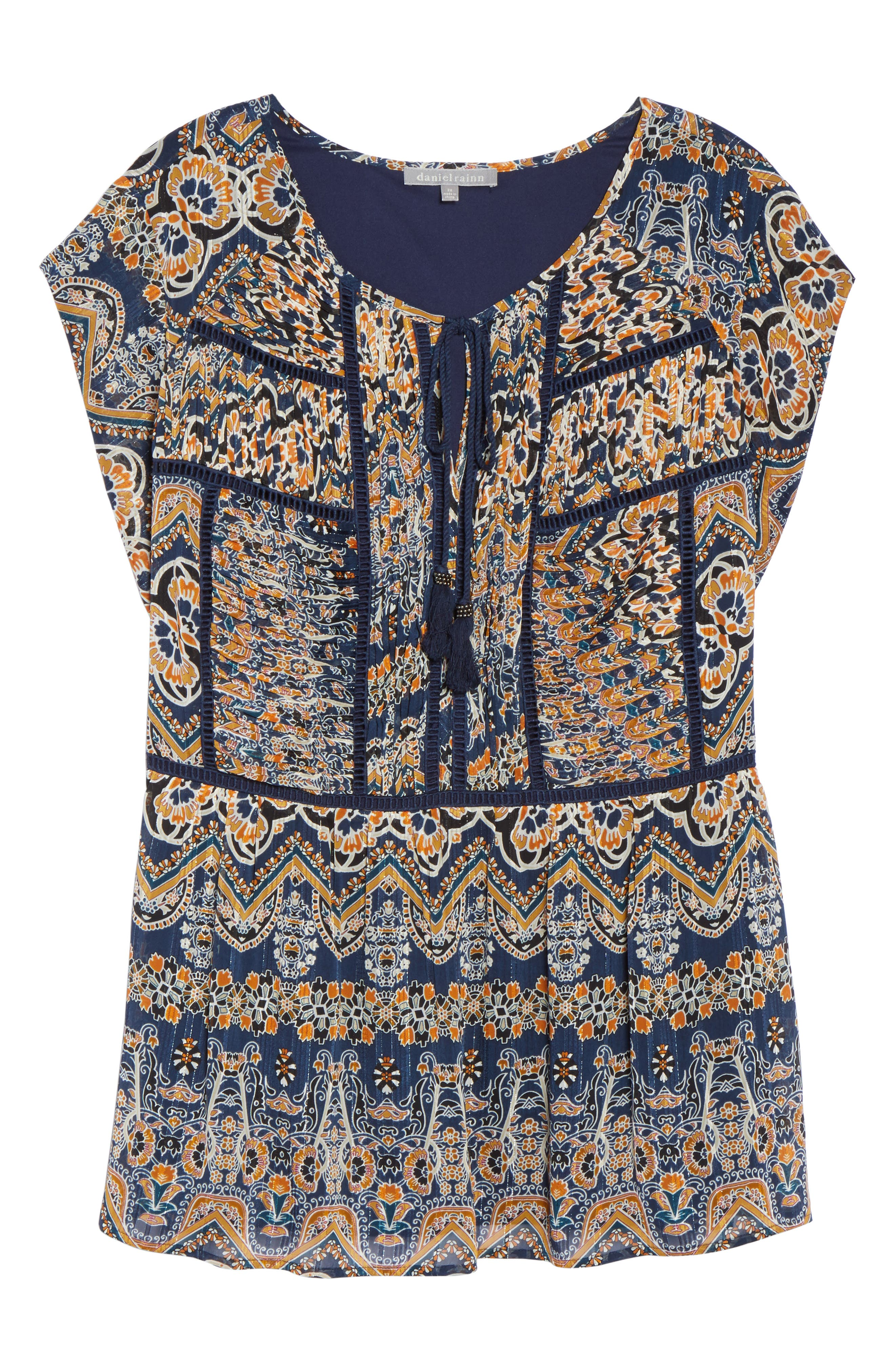 Print Pleated Top,                             Alternate thumbnail 6, color,                             Blue
