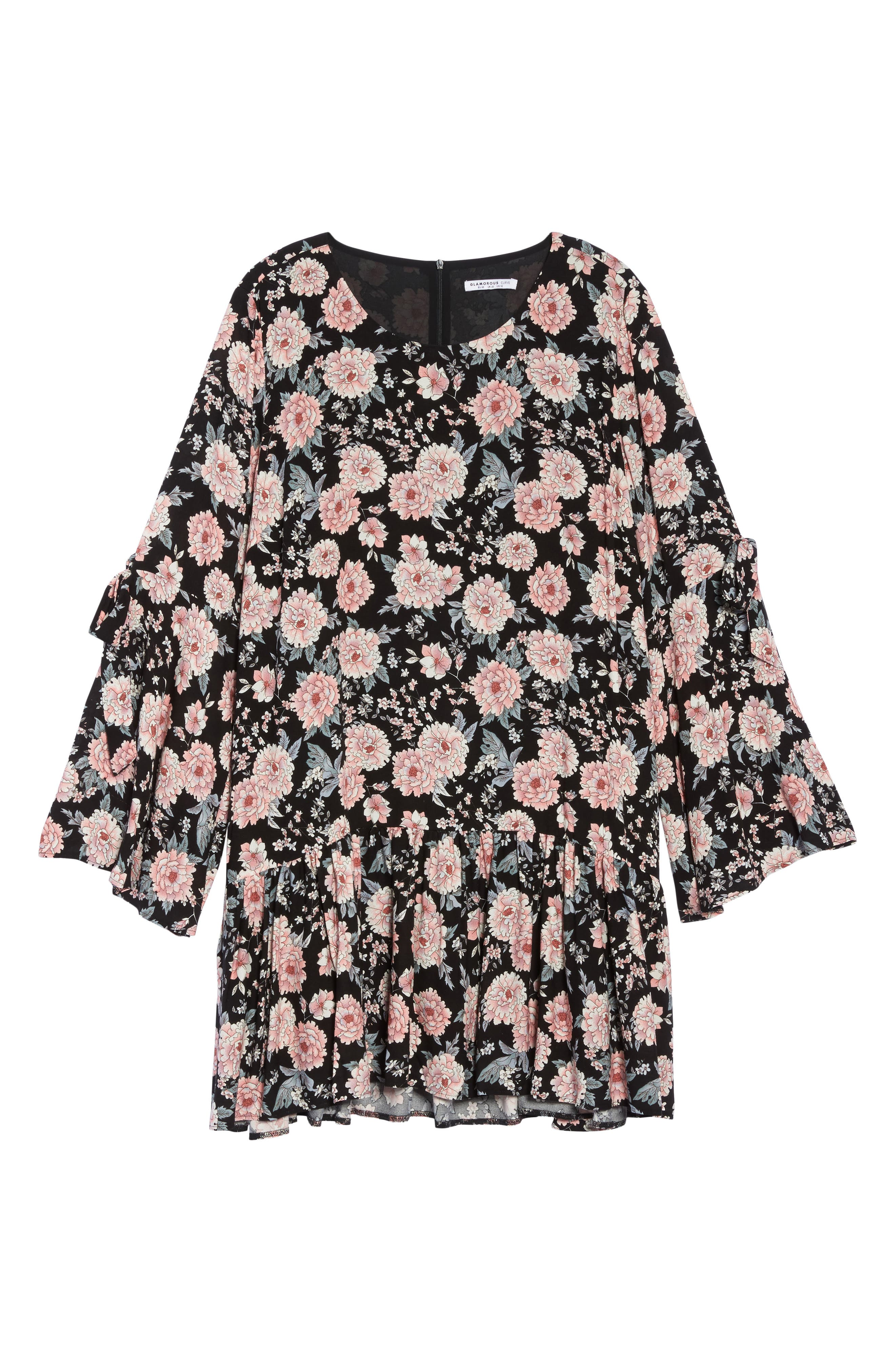 Alternate Image 6  - Glamorous Drop Waist Bell Sleeve Shift Dress (Plus Size)