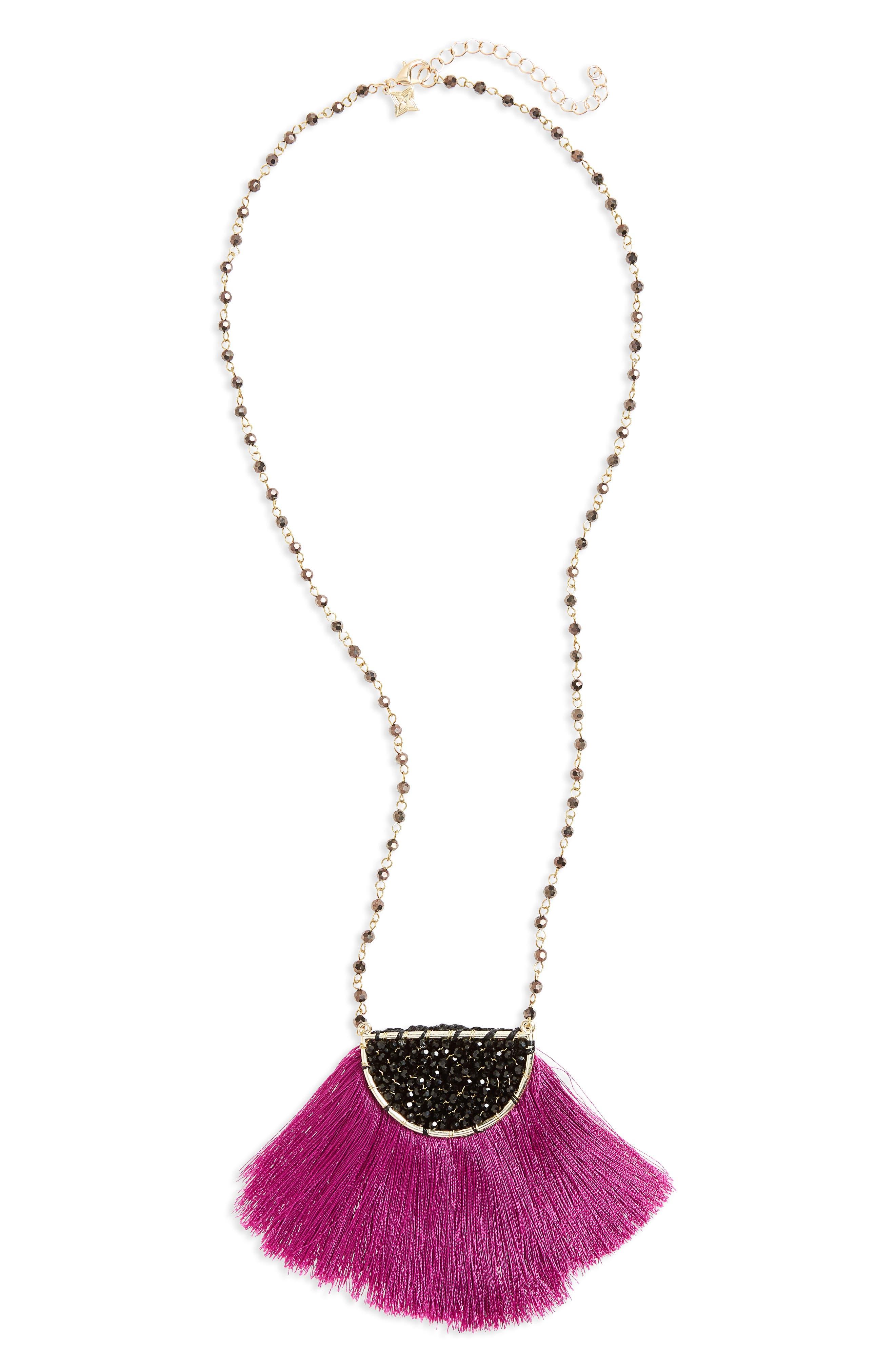 Fringe Pendant Necklace,                             Main thumbnail 1, color,                             Multi/ Fuchsia