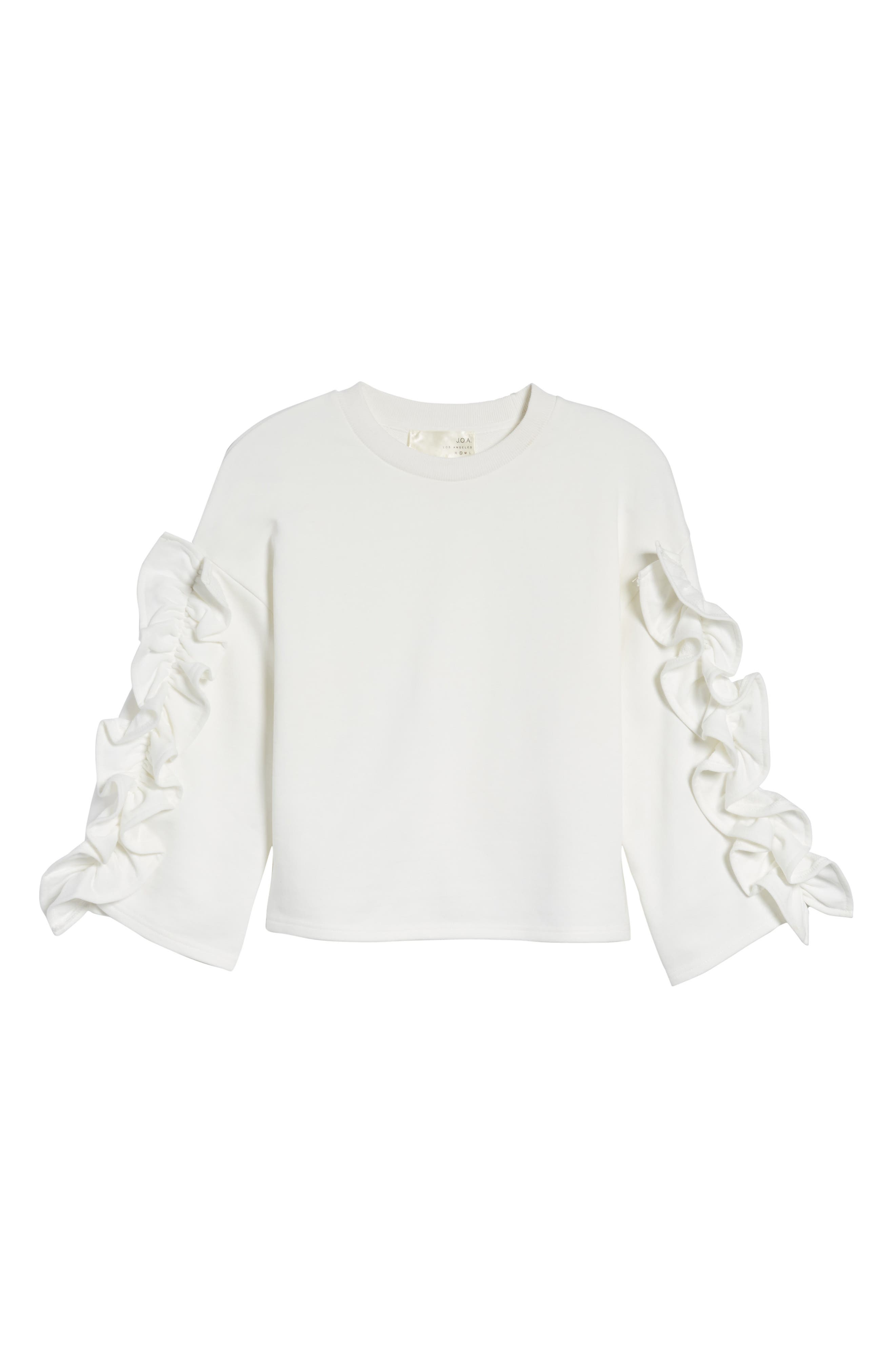 Ruffle Sleeve Top,                             Alternate thumbnail 6, color,                             White