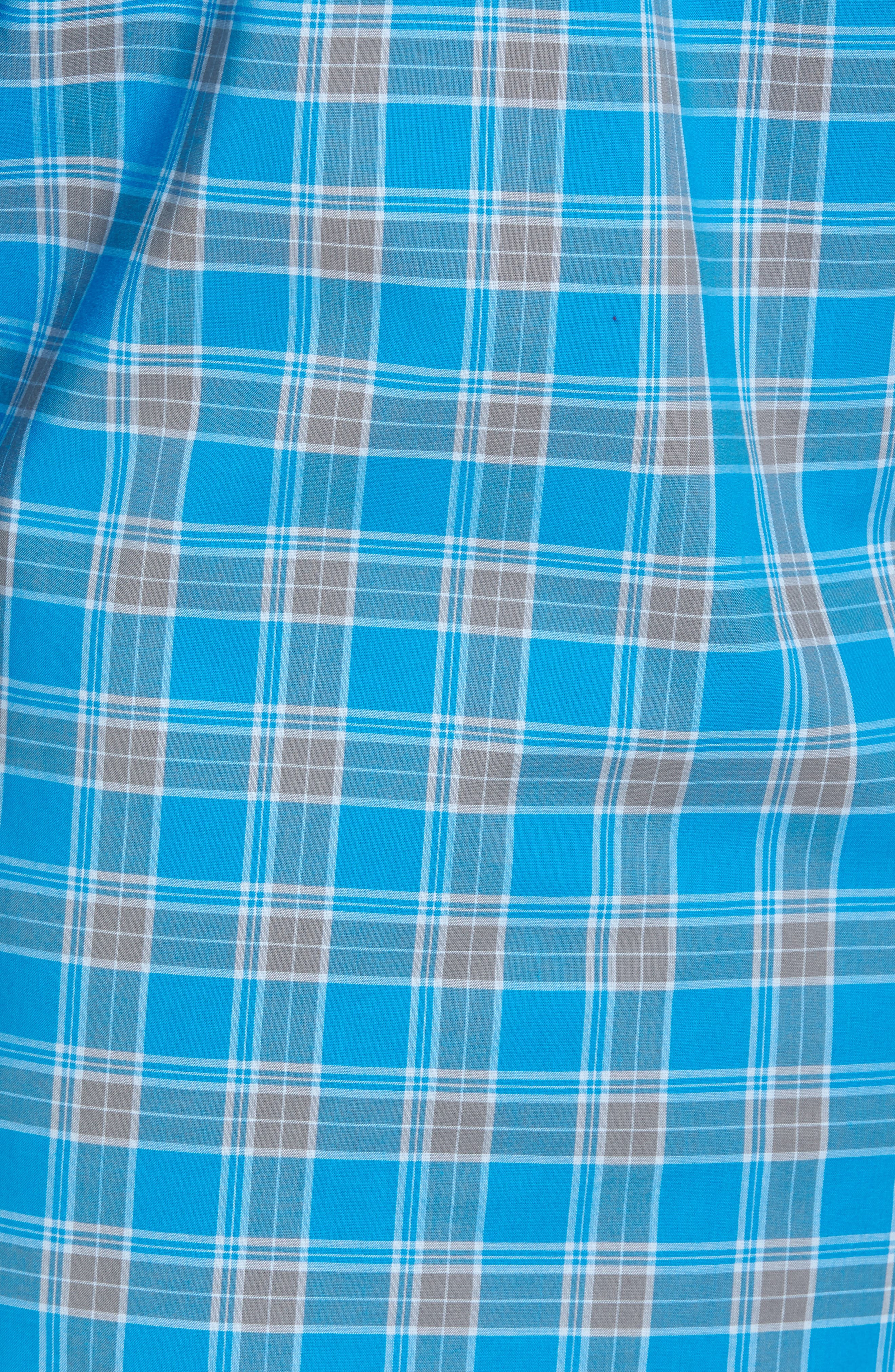 Summerweight Slim Fit Plaid Sport Shirt,                             Alternate thumbnail 6, color,                             Blue