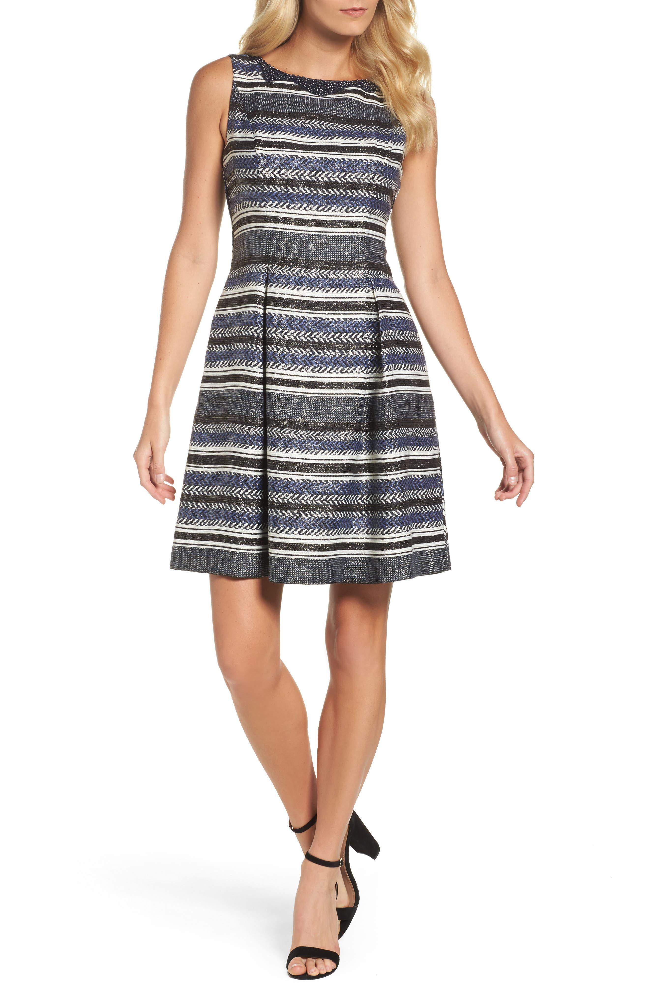 ADRIANNA PAPELL Herringbone Stripe Fit & Flare Dress