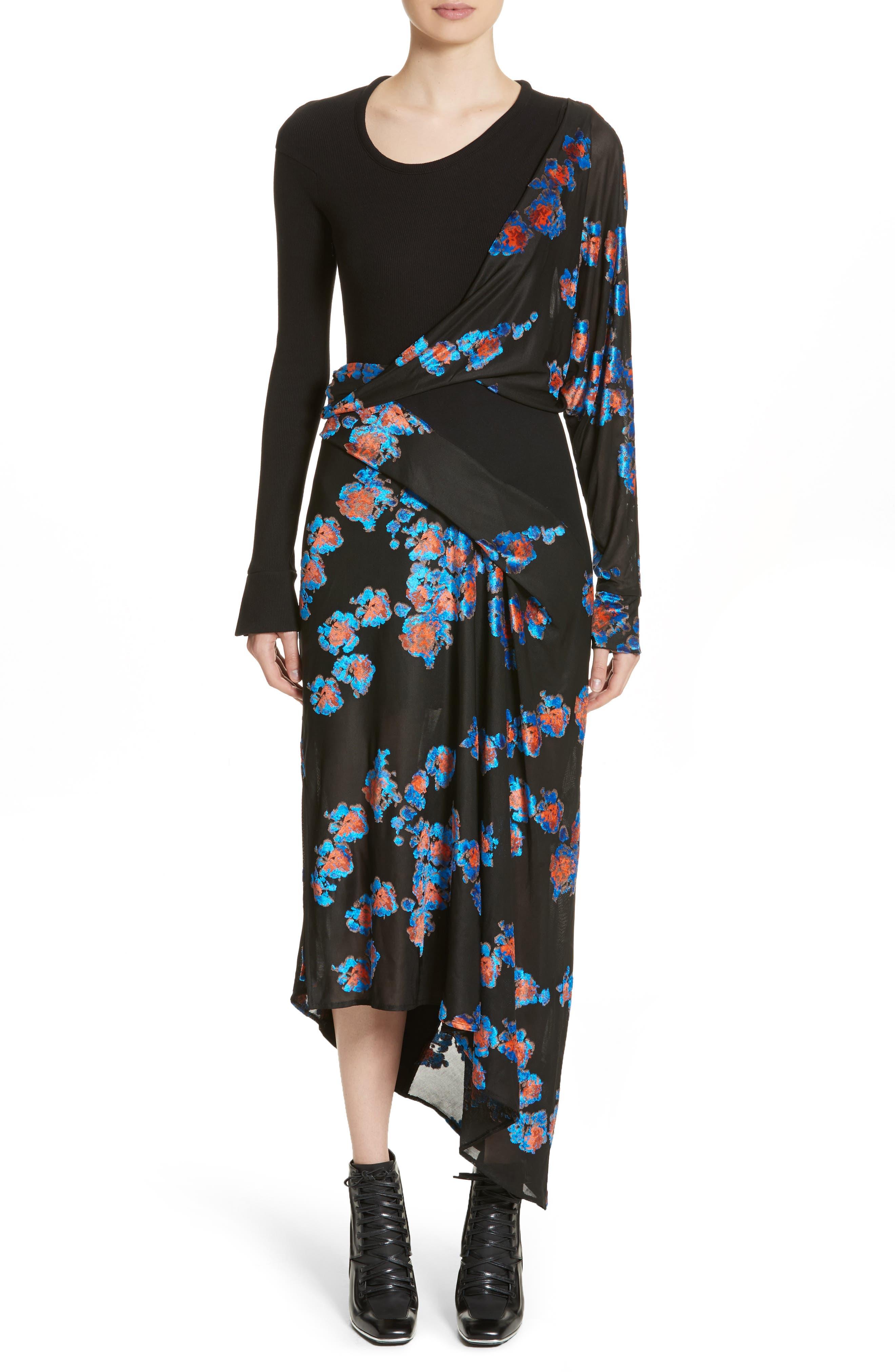 Jersey Jacquard Draped Maxi Dress,                         Main,                         color, Black/ Black