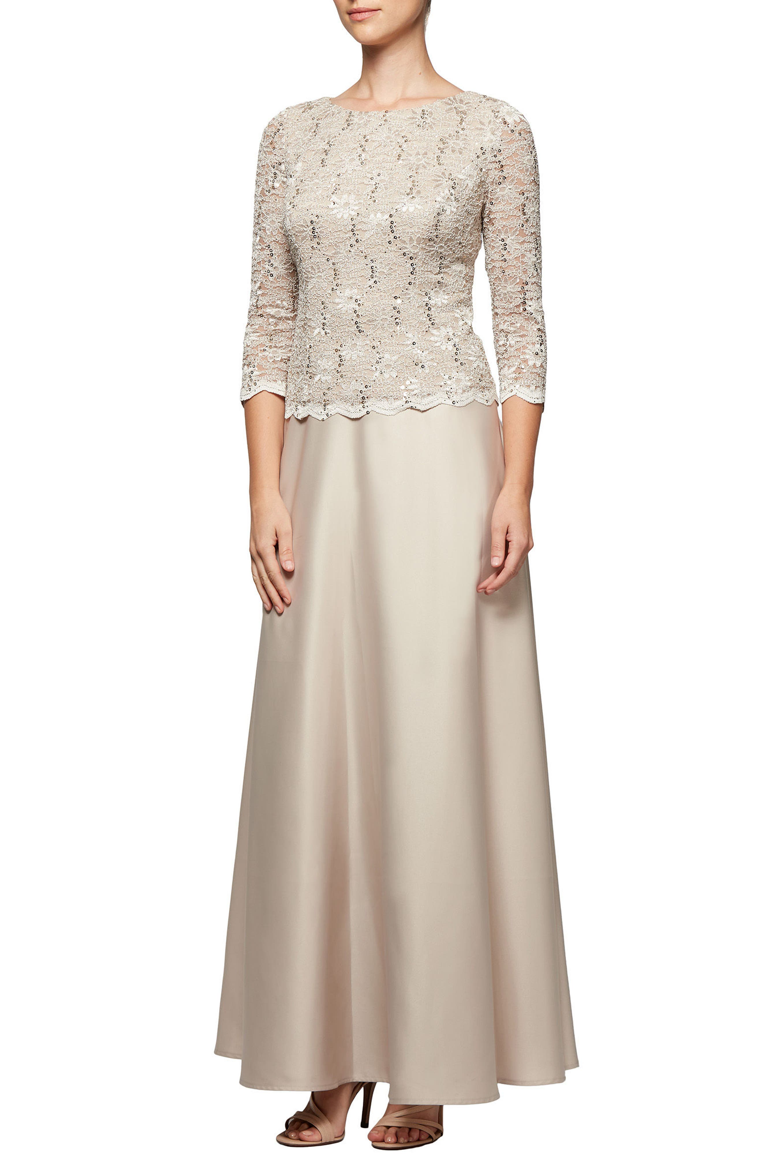 Mock Two-Piece Gown,                             Main thumbnail 1, color,                             Taupe