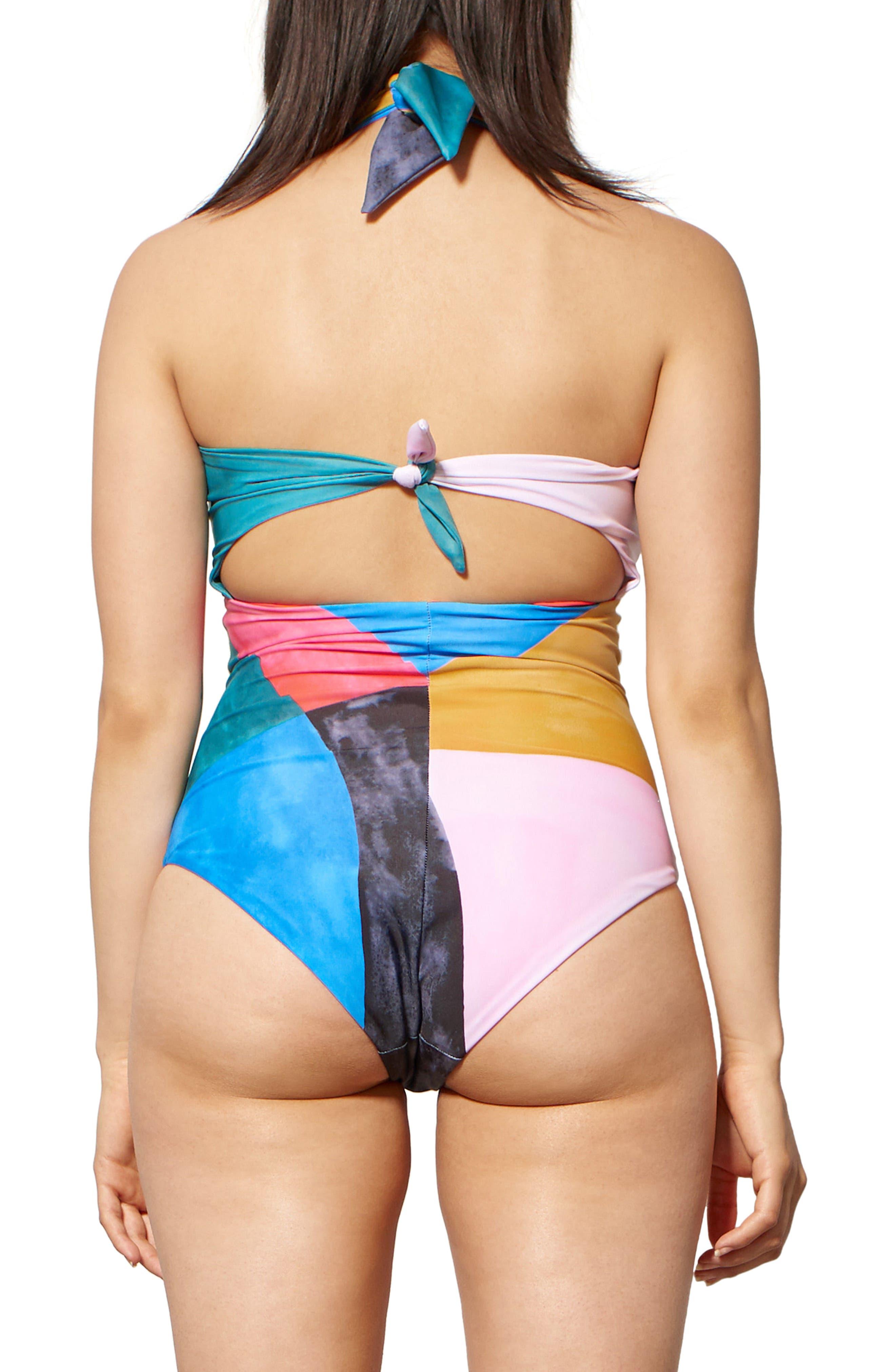Cleo Cutout One-Piece Swimsuit,                             Alternate thumbnail 2, color,                             Blue Multi