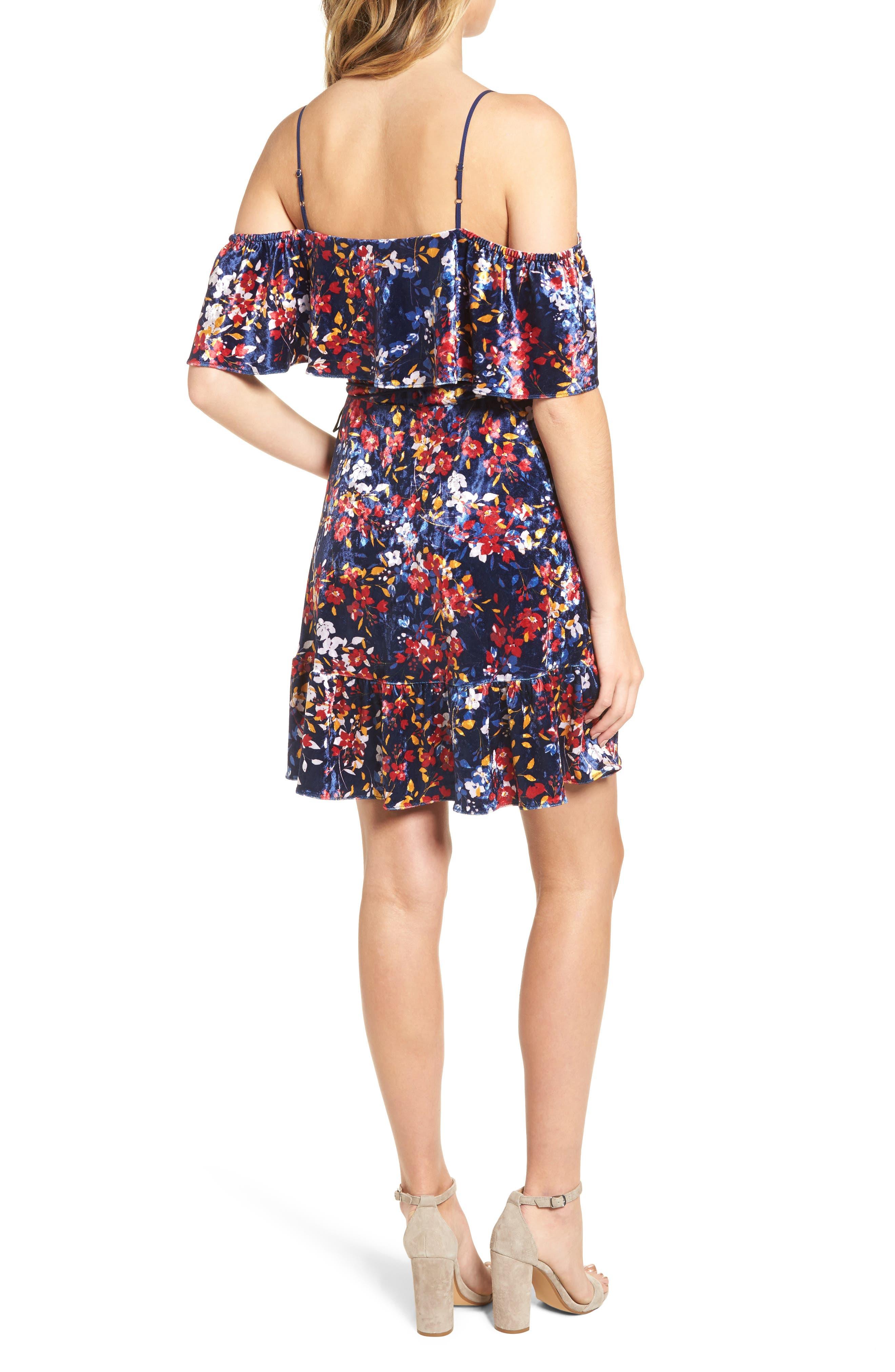 Iris Cold Shoulder Velvet Wrap Dress,                             Alternate thumbnail 2, color,                             Jasmine