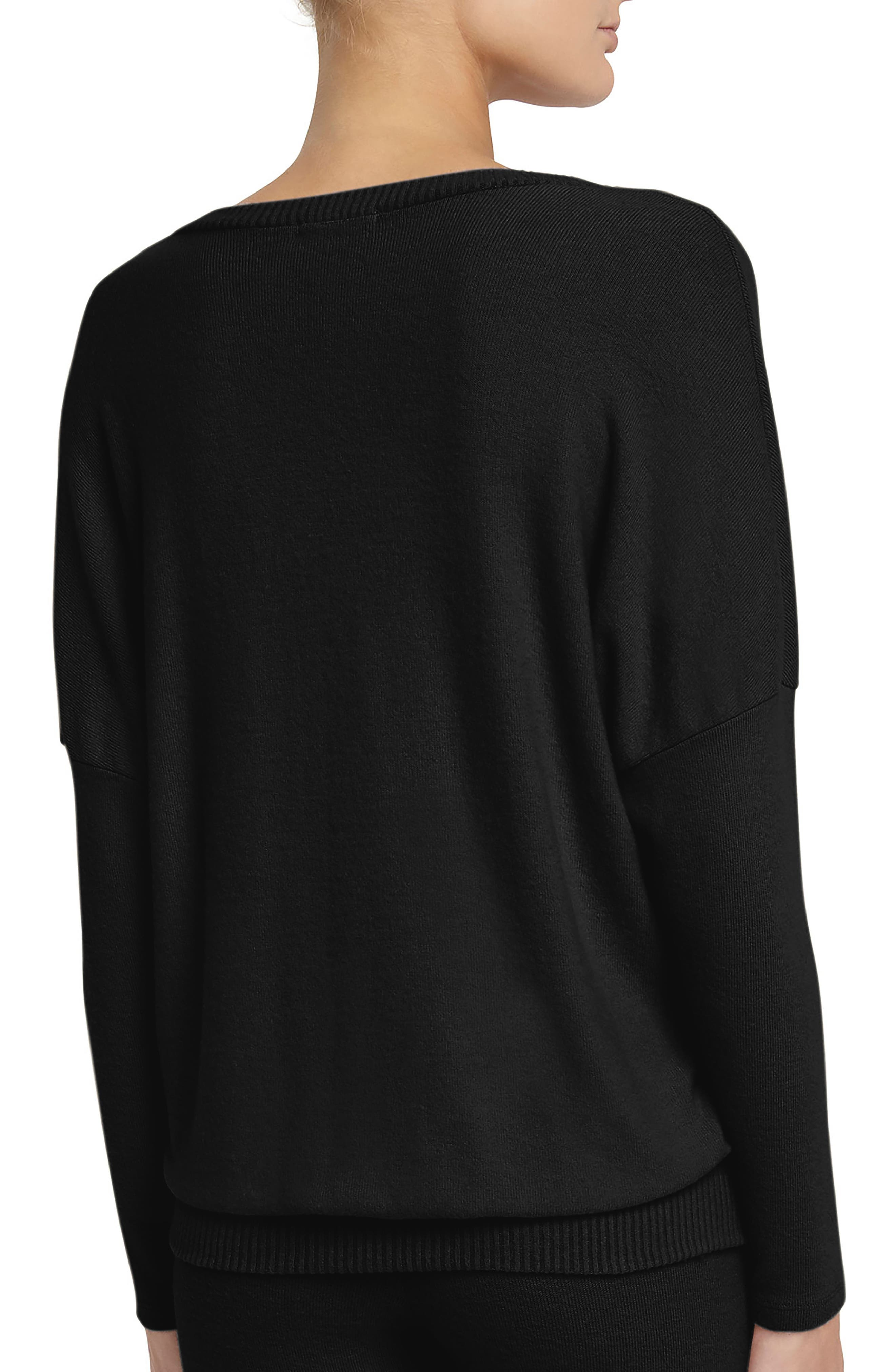 'Cozy Time' Slouchy Long Sleeve Tee,                             Alternate thumbnail 2, color,                             Black