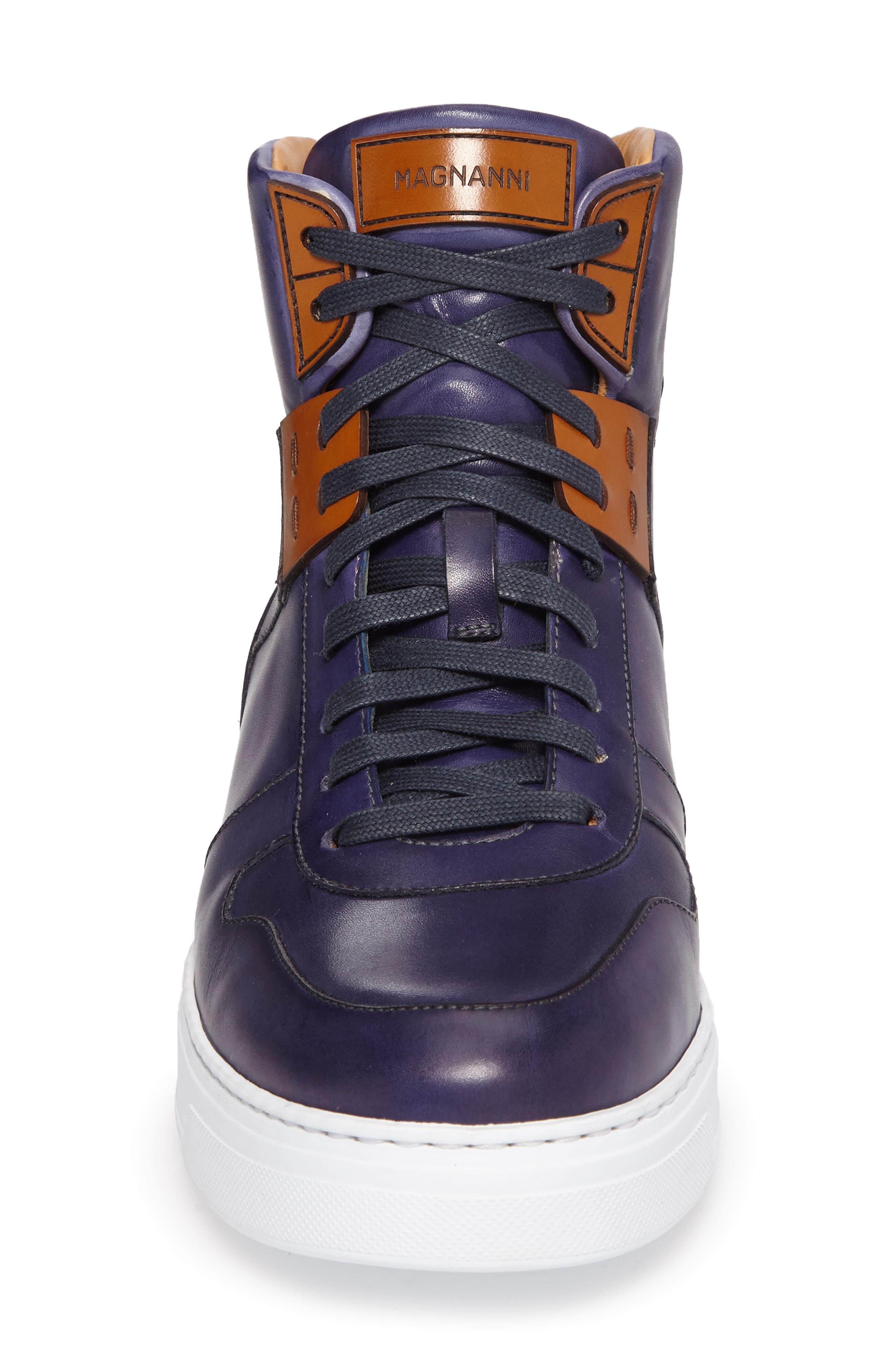 Endo Hi Sneaker,                             Alternate thumbnail 4, color,                             Navy Leather
