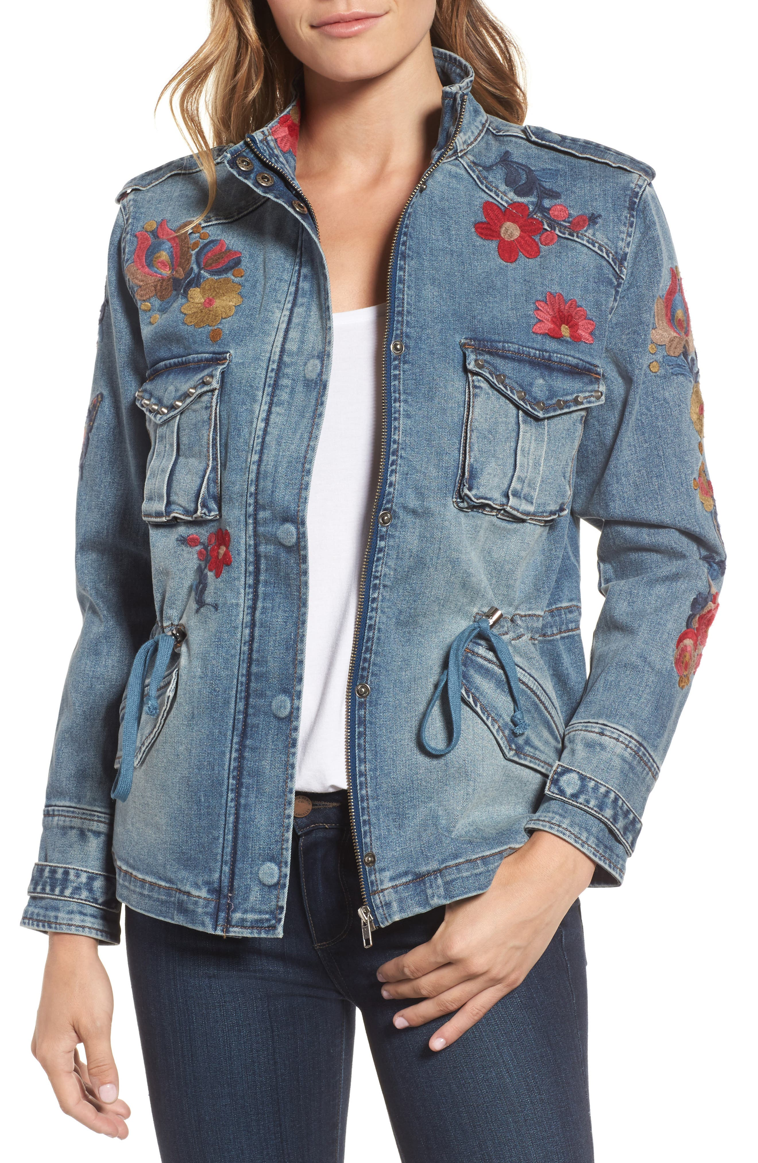 Billy T Embroidered Denim Utility Jacket
