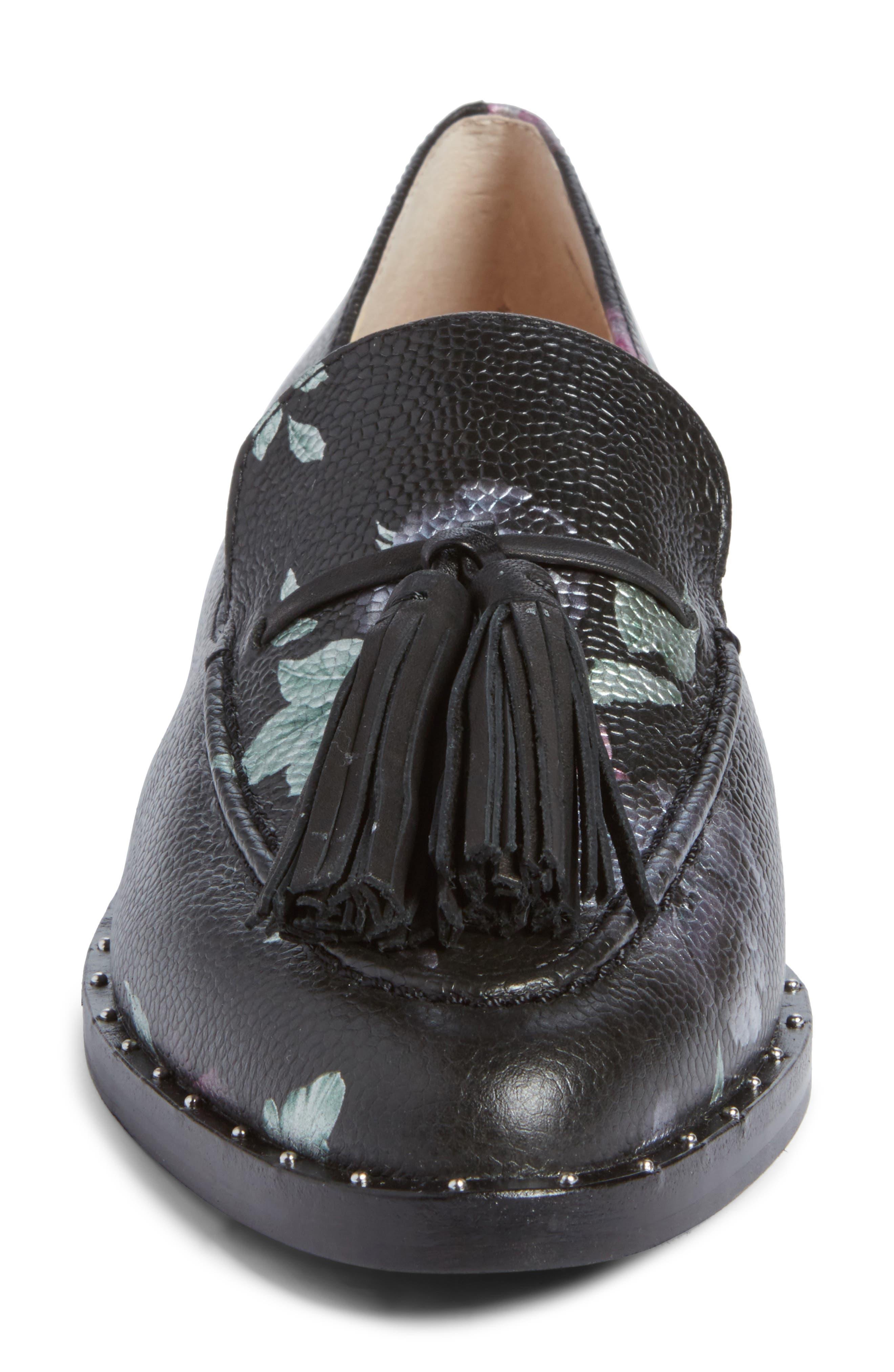 Geralin Tassel Loafer,                             Alternate thumbnail 4, color,                             Black Floral Print Leather