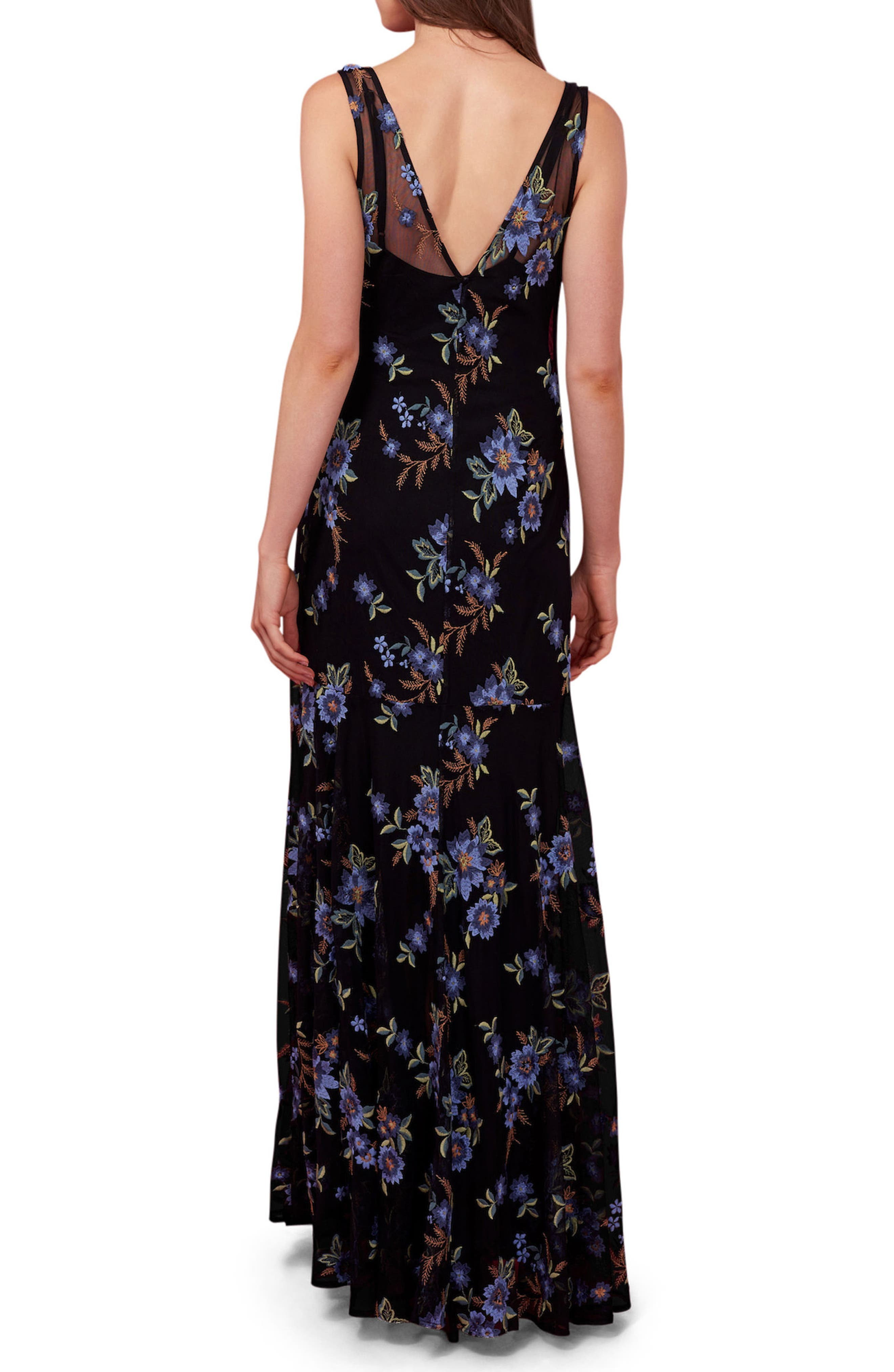 Embroidered Mesh Maxi Dress,                             Alternate thumbnail 2, color,                             Black/ Multi