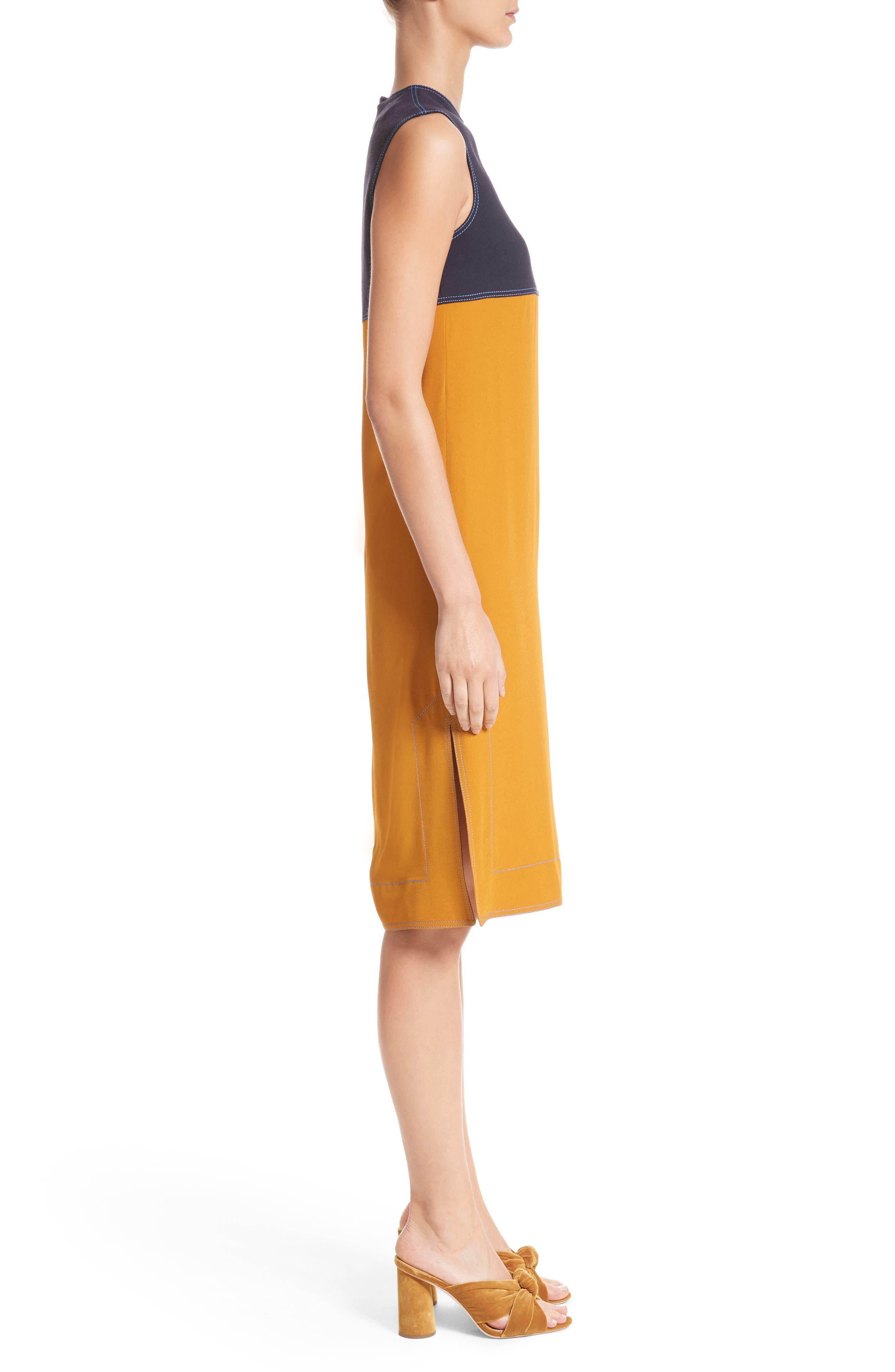 Colorblock Double Face Crepe Dress,                             Alternate thumbnail 3, color,                             Black/ Blue