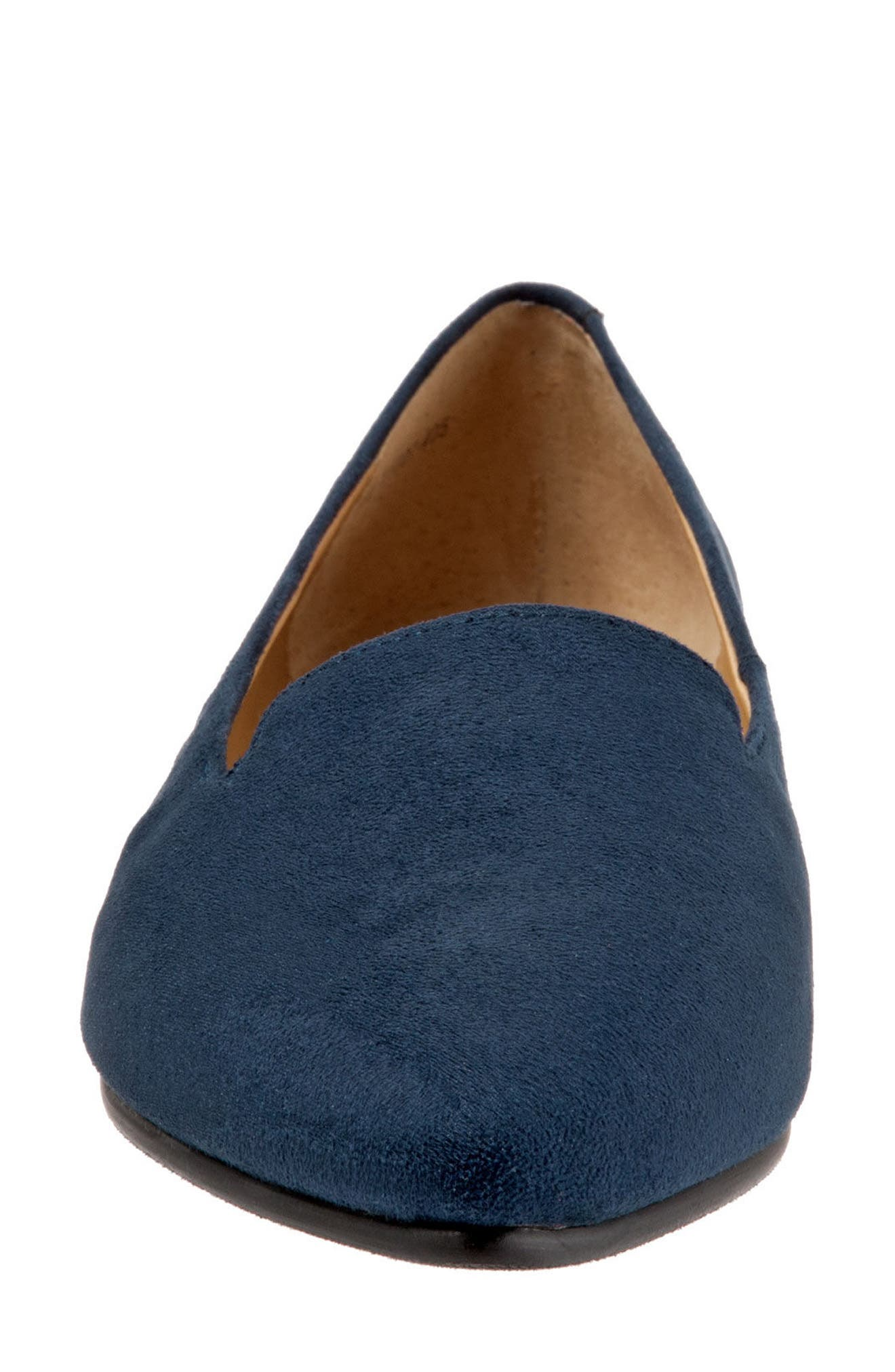 Harlowe Pointy Toe Loafer,                             Alternate thumbnail 4, color,                             Navy Leather