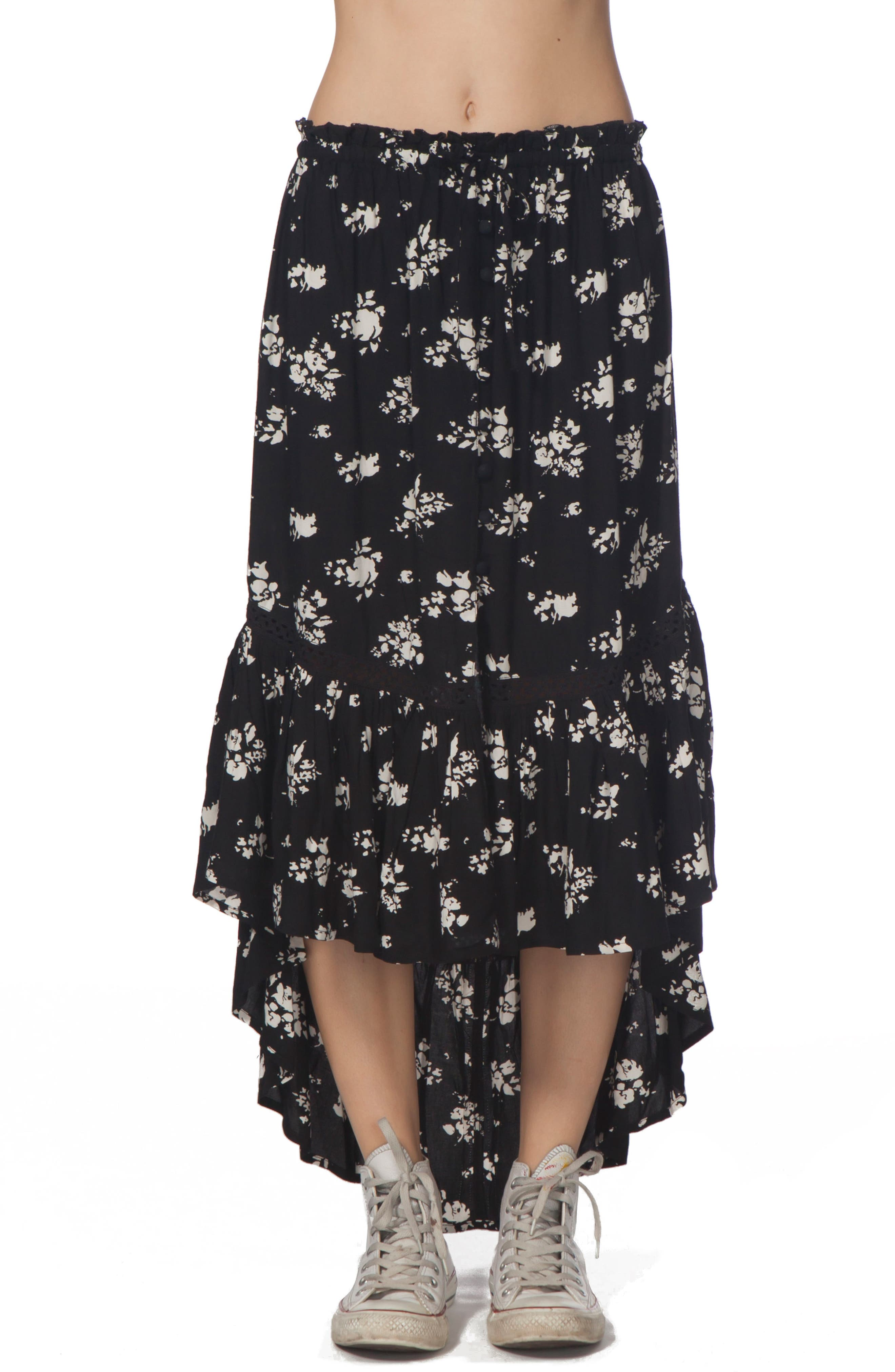 Lakehouse Ruffle High/Low Skirt,                         Main,                         color, Black