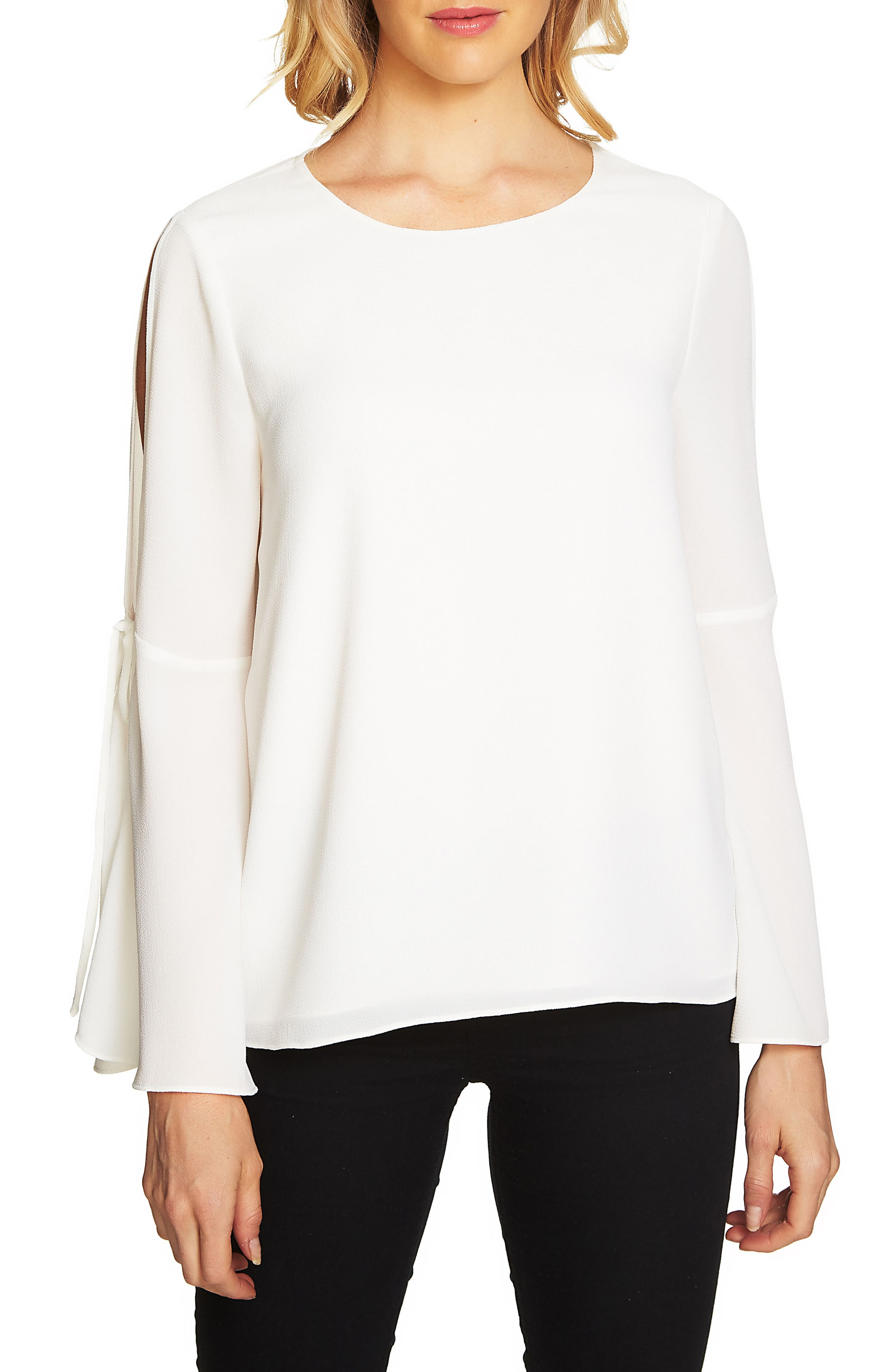 Split Tie-Sleeve Blouse,                         Main,                         color, New Ivory