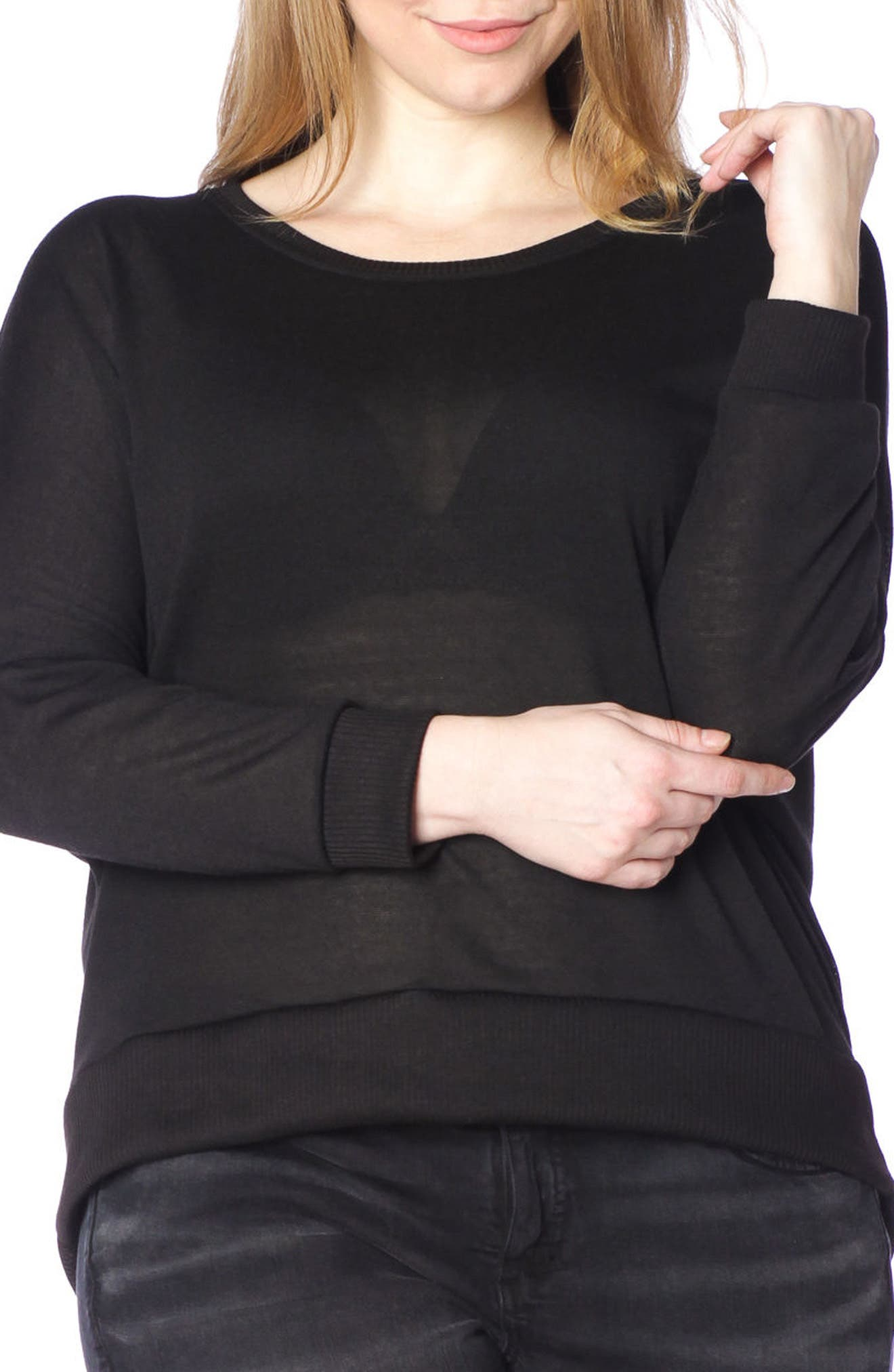 Dolman Sleeve Ribbed Pullover,                             Main thumbnail 1, color,                             Black