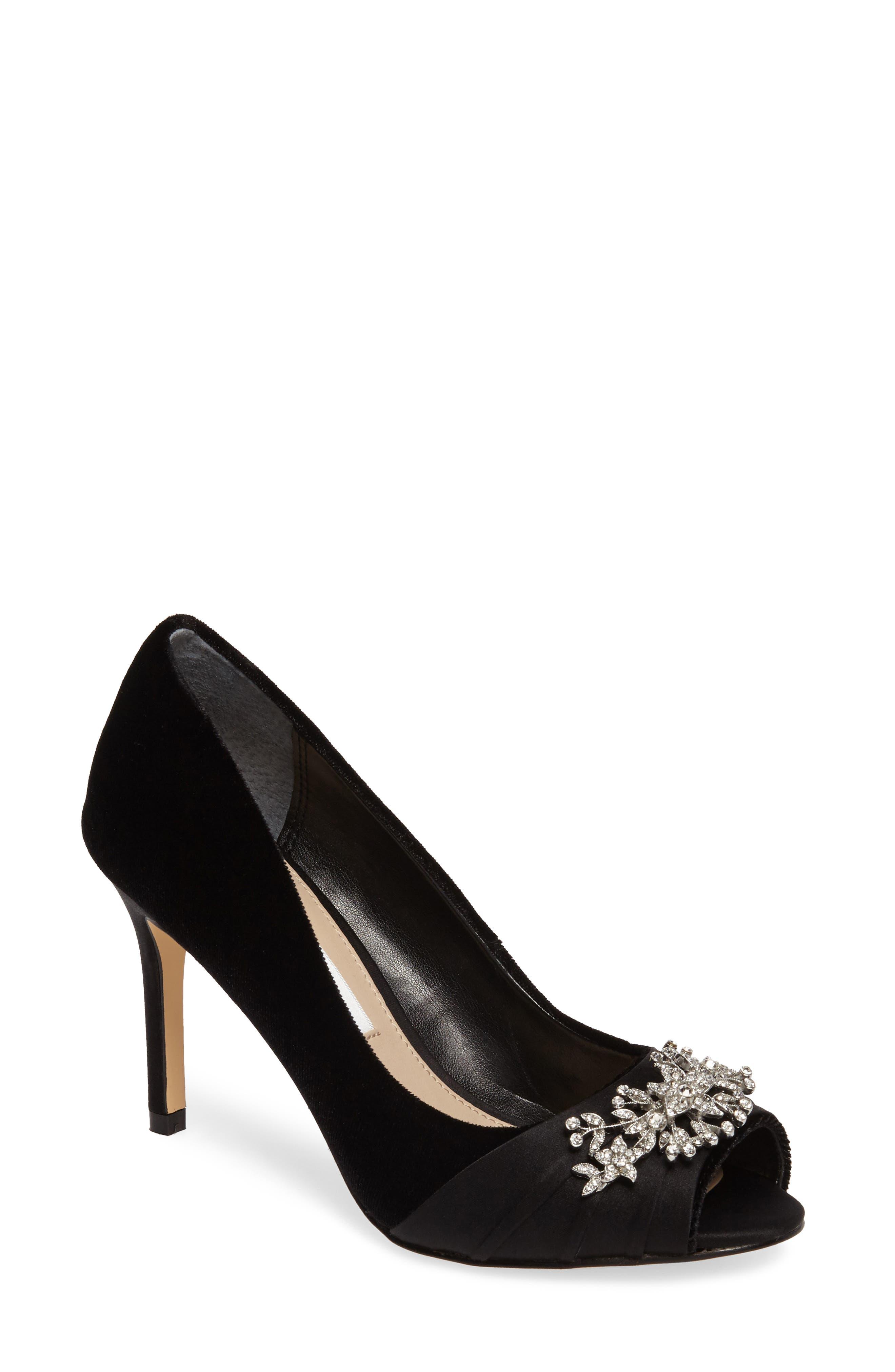 Rumina Embellished Peep Toe Pump,                         Main,                         color, Black Velvet