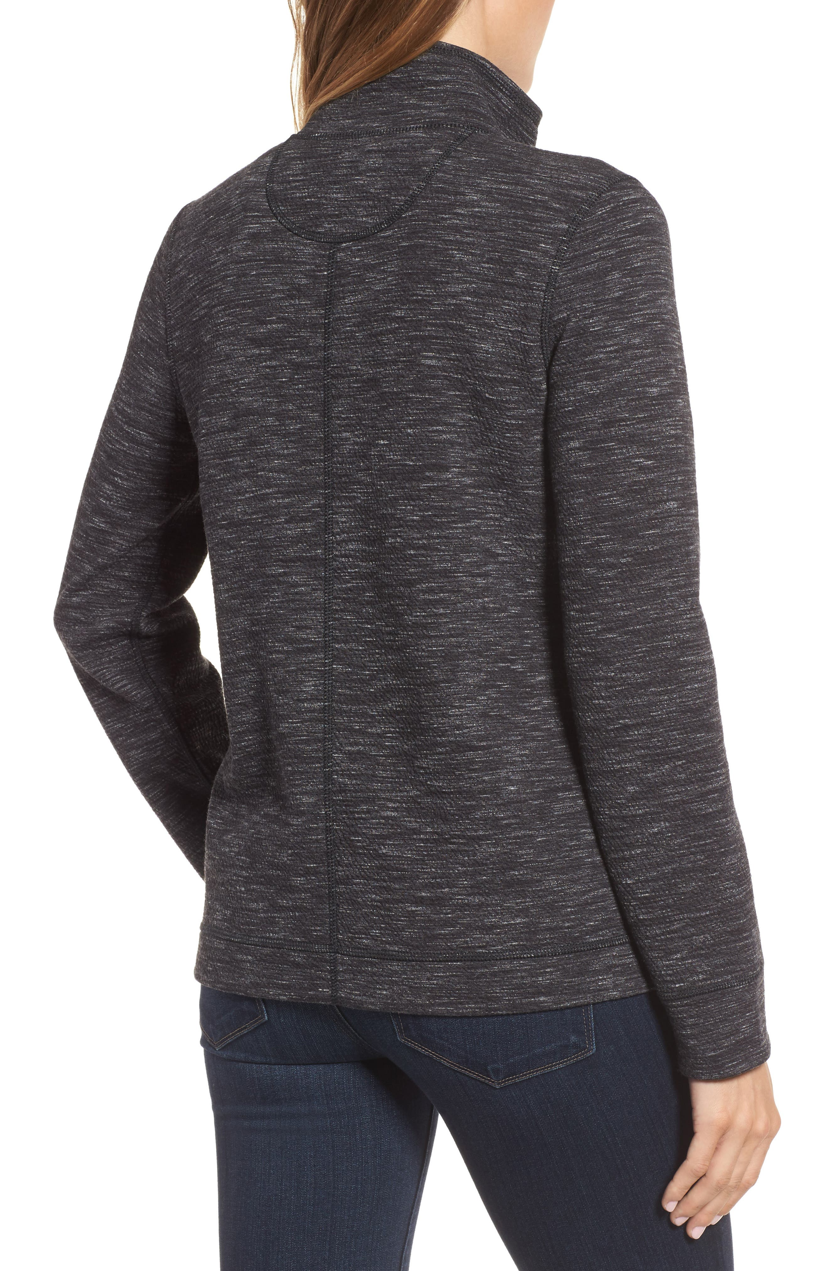 Reversible Marled Knit Jacket,                             Alternate thumbnail 2, color,                             Noir Heather