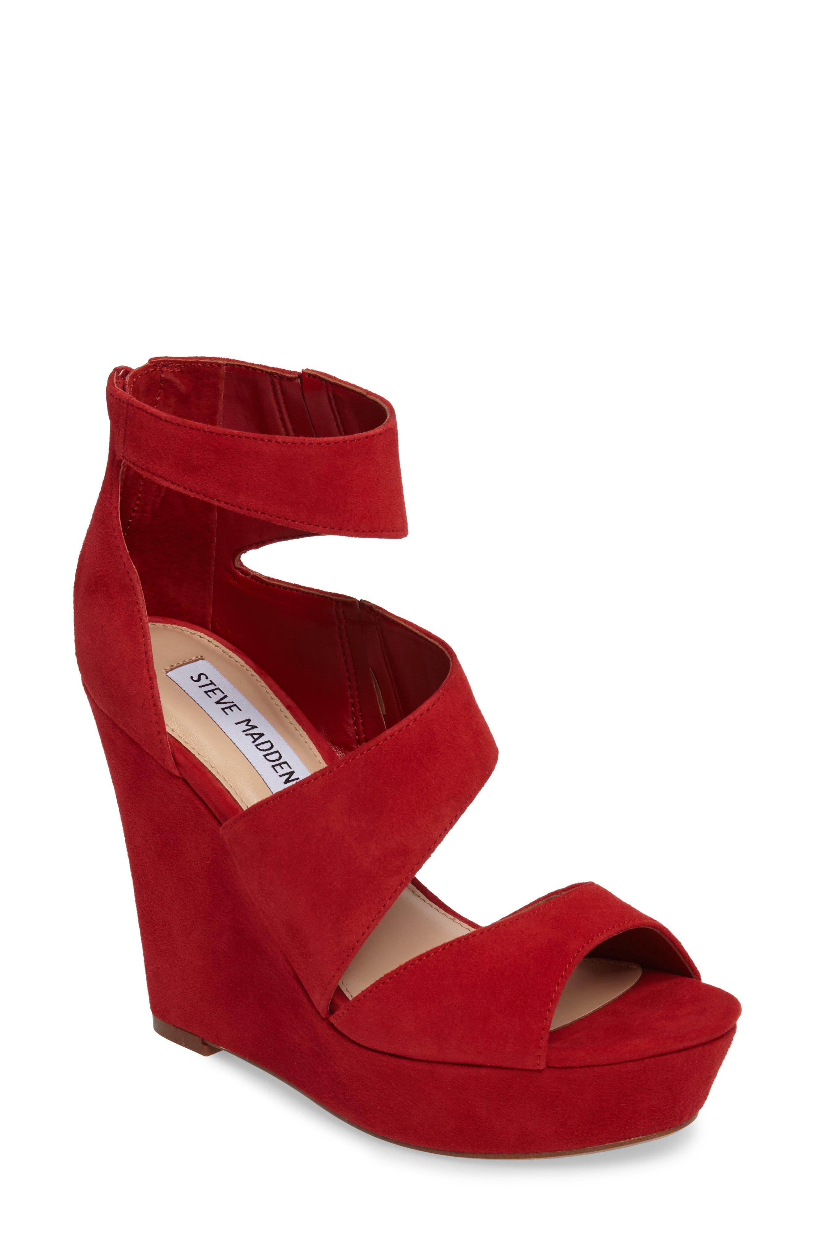 Alternate Image 1 Selected - Steve Madden Essey Asymmetrical Platform Wedge Sandal (Women)