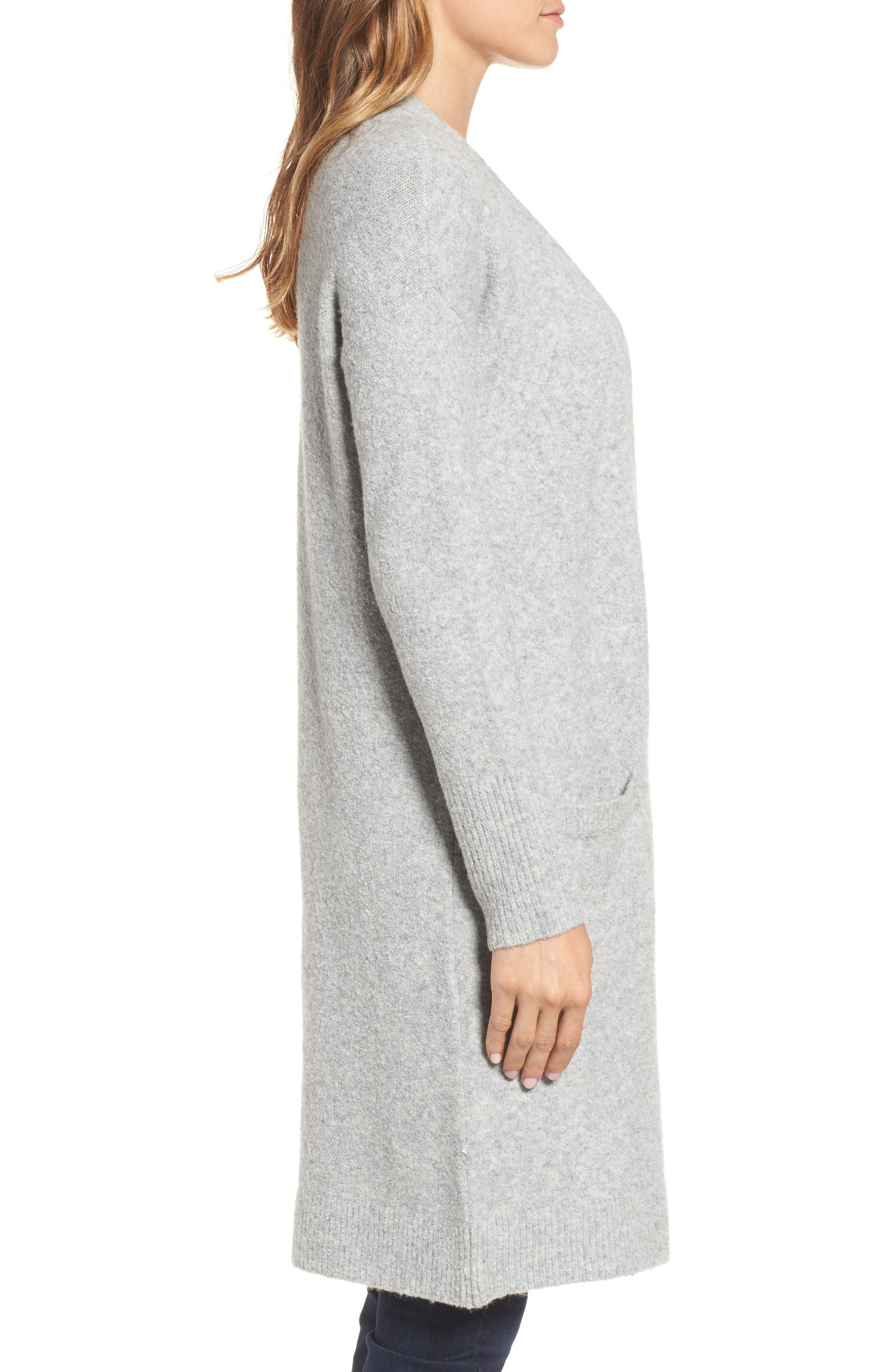 Open Front Cardigan,                             Alternate thumbnail 3, color,                             Heather Grey