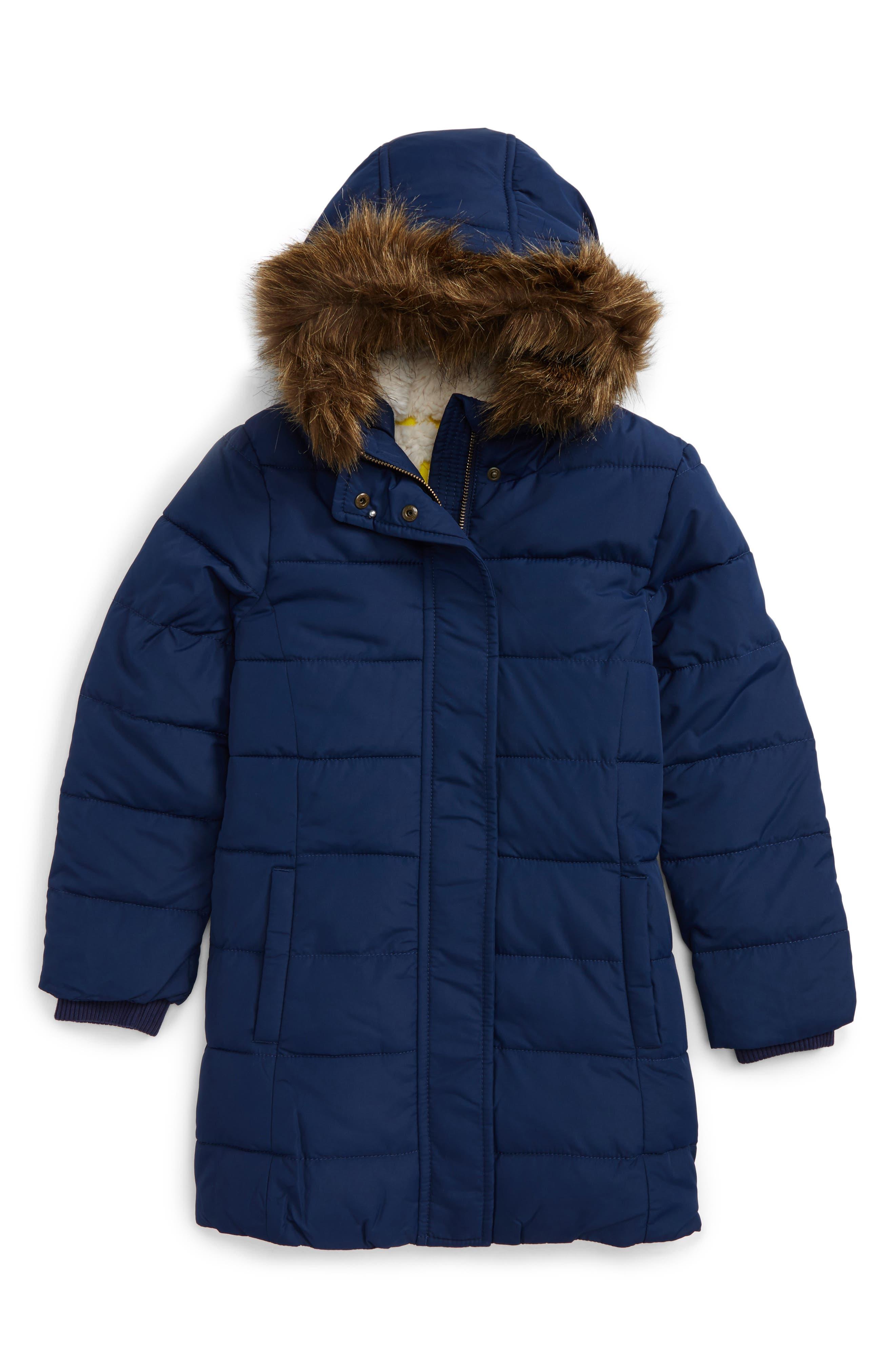 Mini Boden Water Resistant Hooded Coat (Toddler Girls, Little Girls & Big Girls)