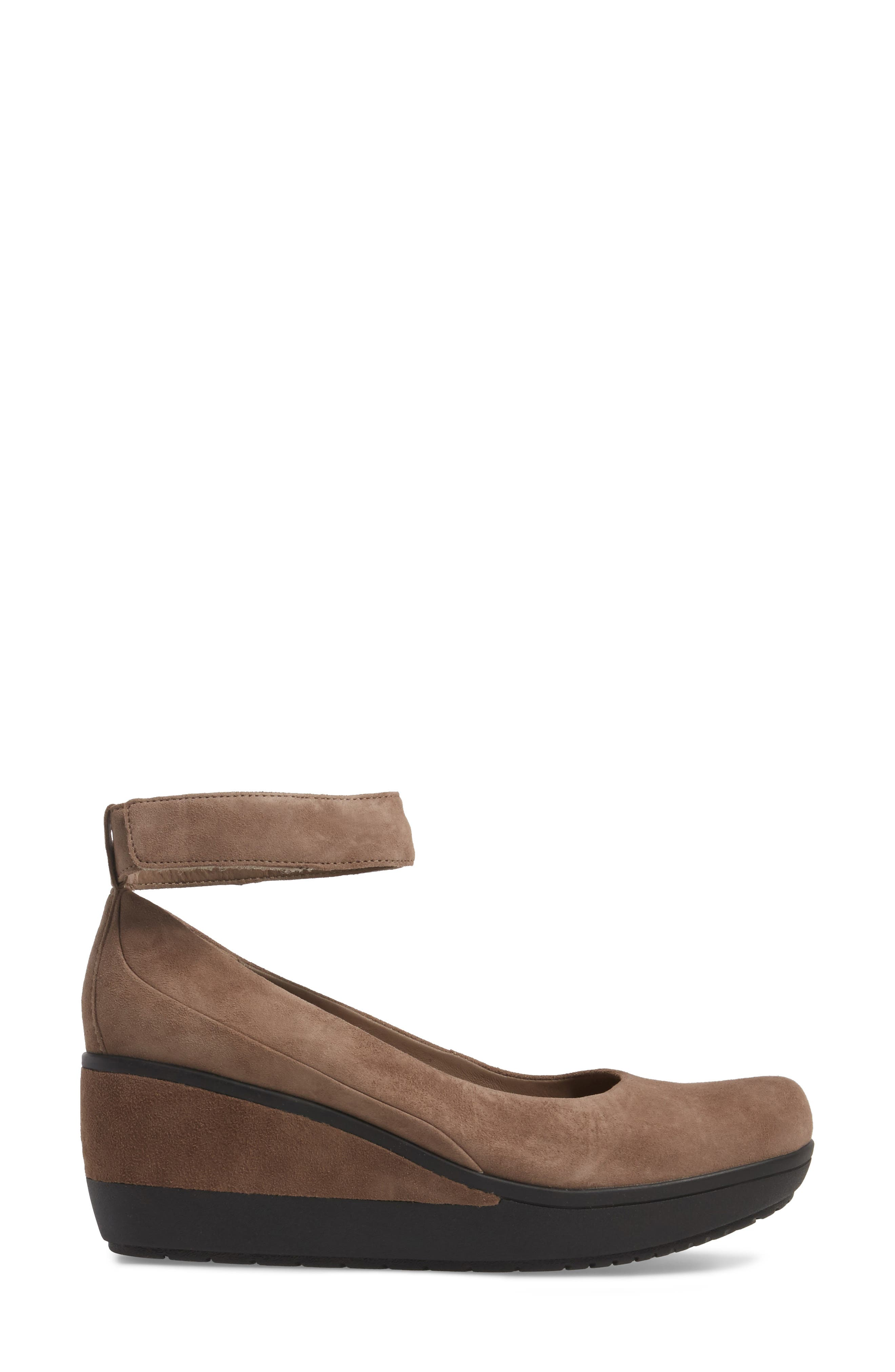 Wynnmere Fox Ankle Strap Pump,                             Alternate thumbnail 3, color,                             Pebble Suede