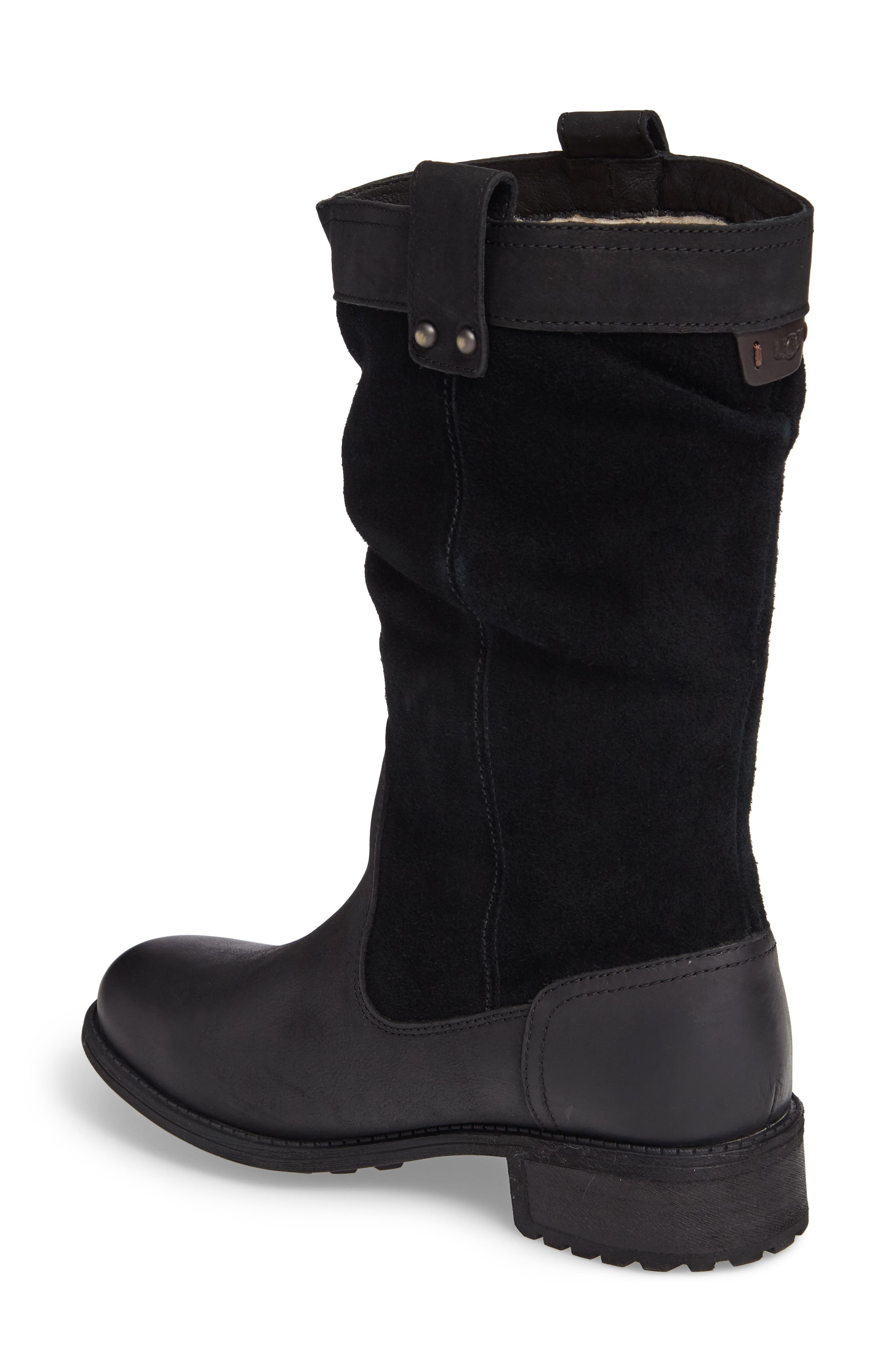 Bruckner Water Resistant Slouch Boot,                             Alternate thumbnail 2, color,                             Black Leather
