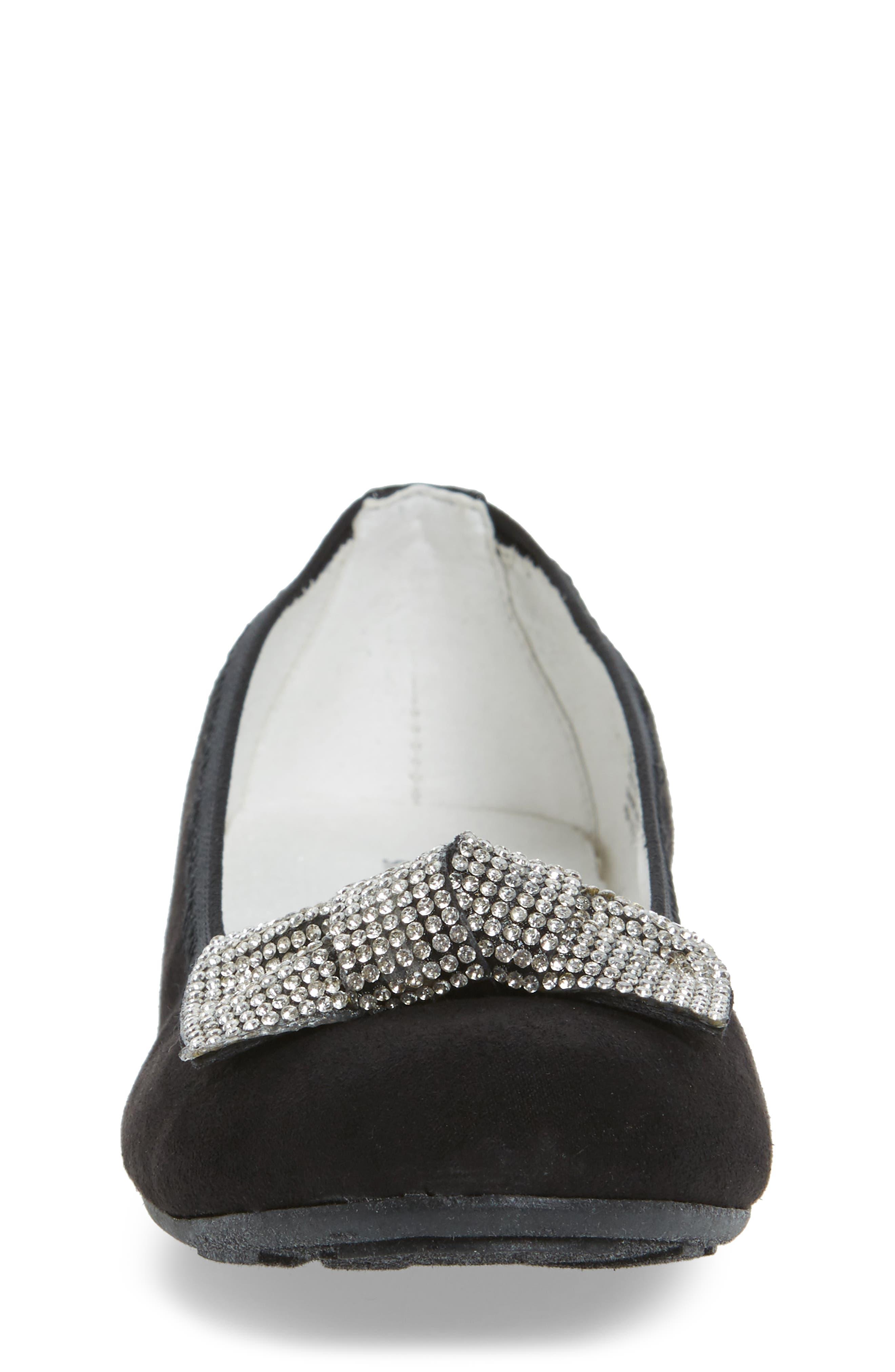 Fannie Glitz Ballet Flat,                             Alternate thumbnail 4, color,                             Black Faux Leather