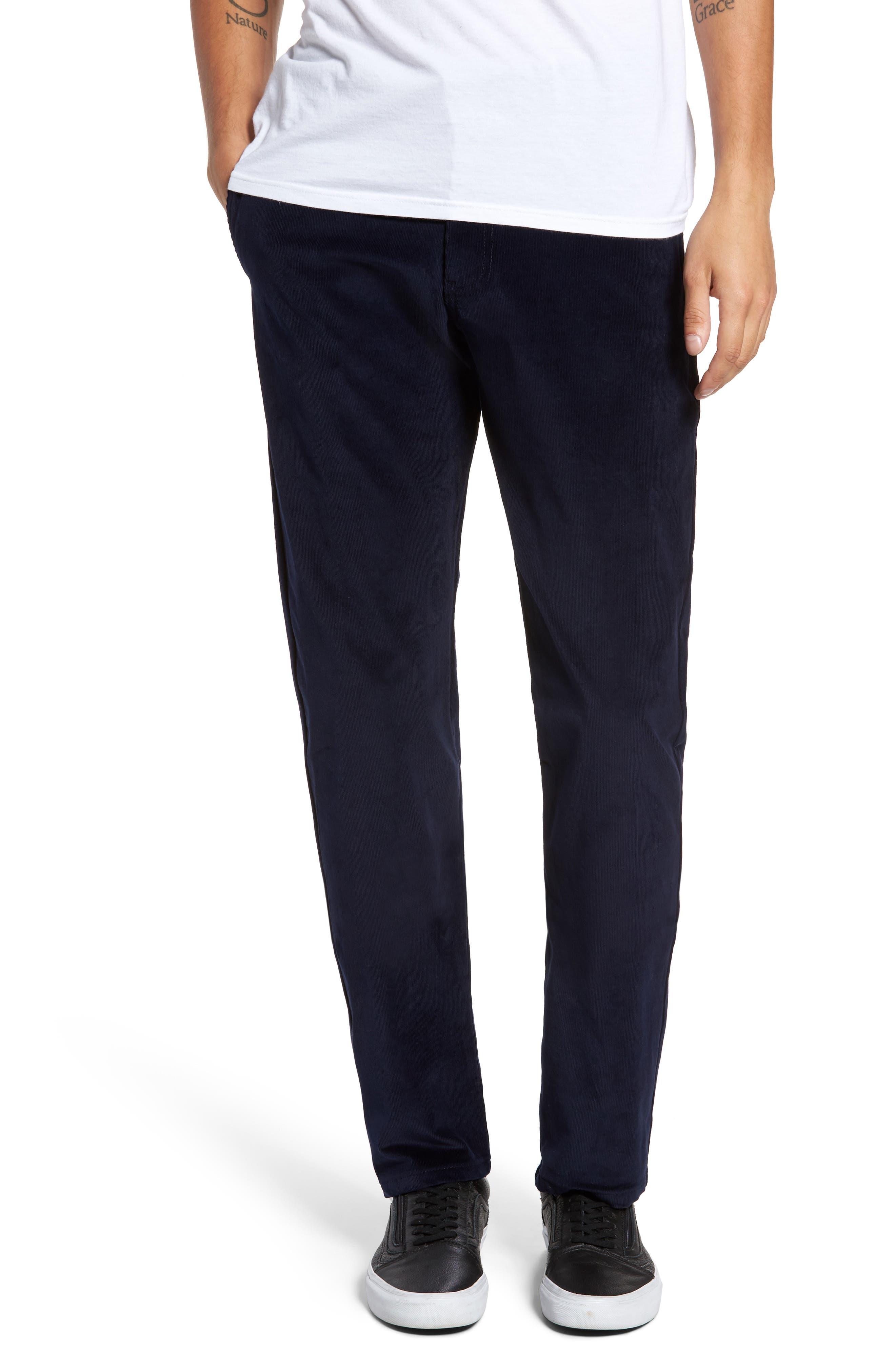 Slim Fit Corduroy Pants,                         Main,                         color, Navy